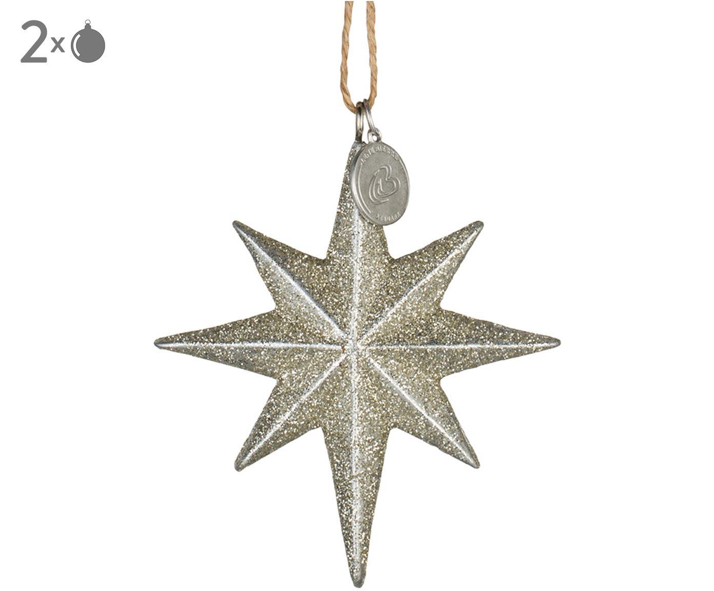 Kerstboomhangers Serafina Star, 2 stuks, Goudkleurig, 7 x 8 cm