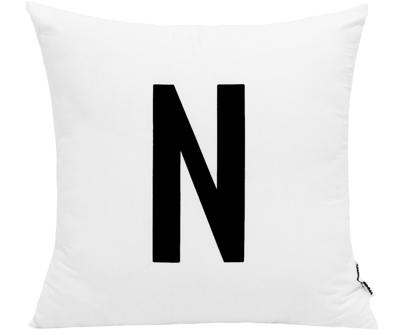 Funda de cojín Alphabet (variantes de A a Z), 100%poliéster, Negro, blanco, Variante N
