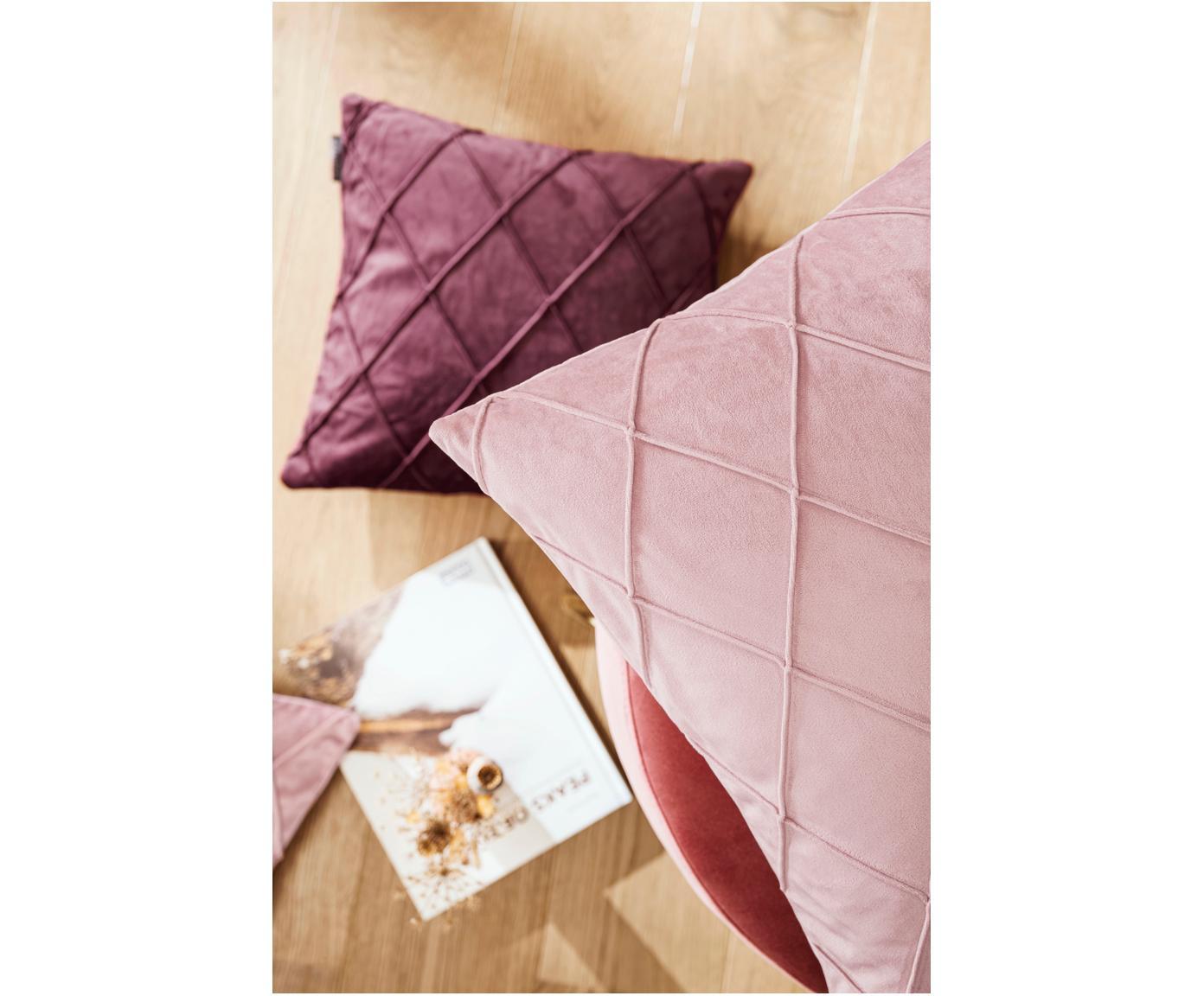 Sametový povlak na polštář s plastickým vzorem Nobless, Starorůžová