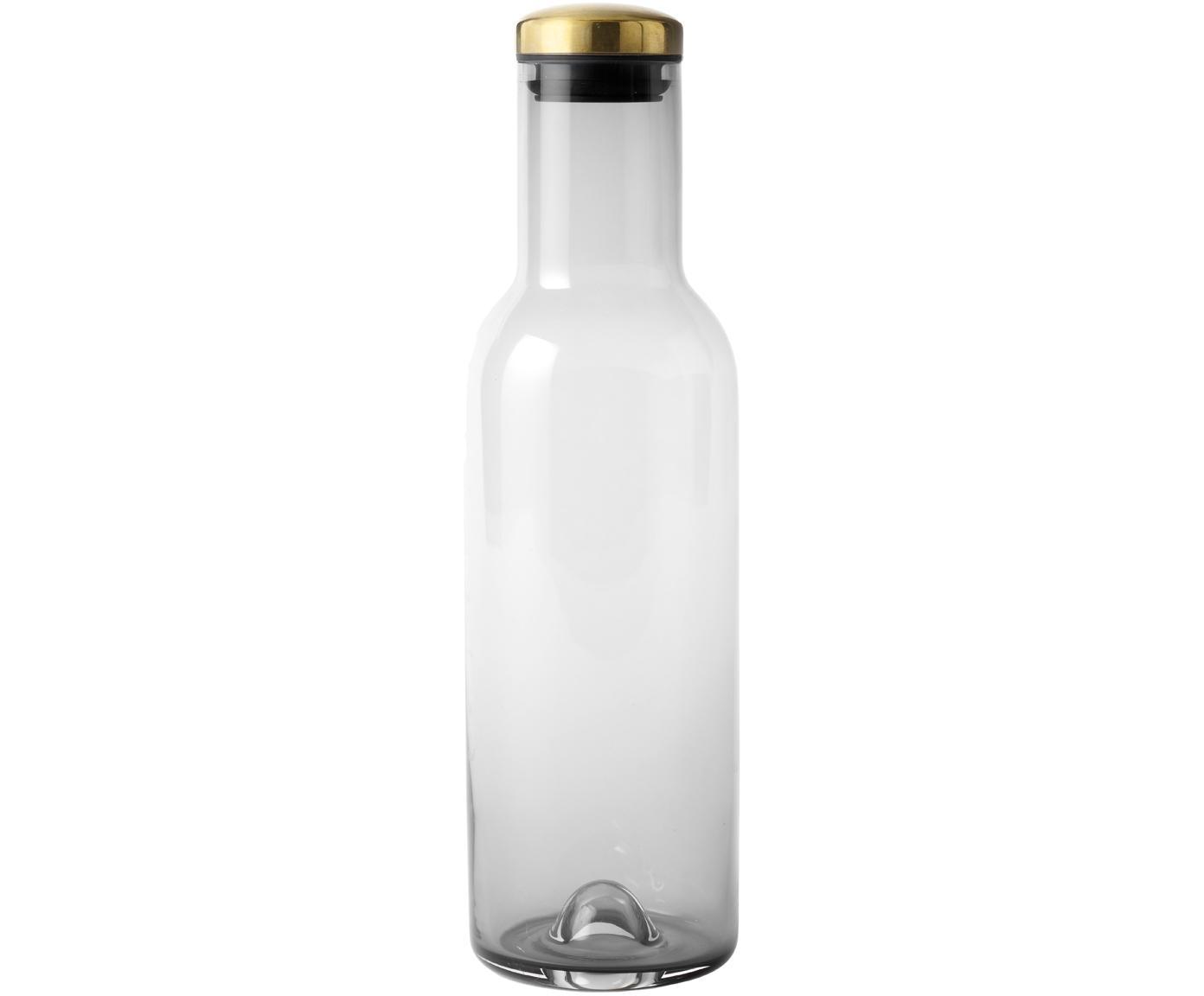 Bottiglia in vetro con coperchio dorato Deluxe, Coperchio: metallo ottonato, Grigio cipria, Ø 8 x Alt. 29 cm