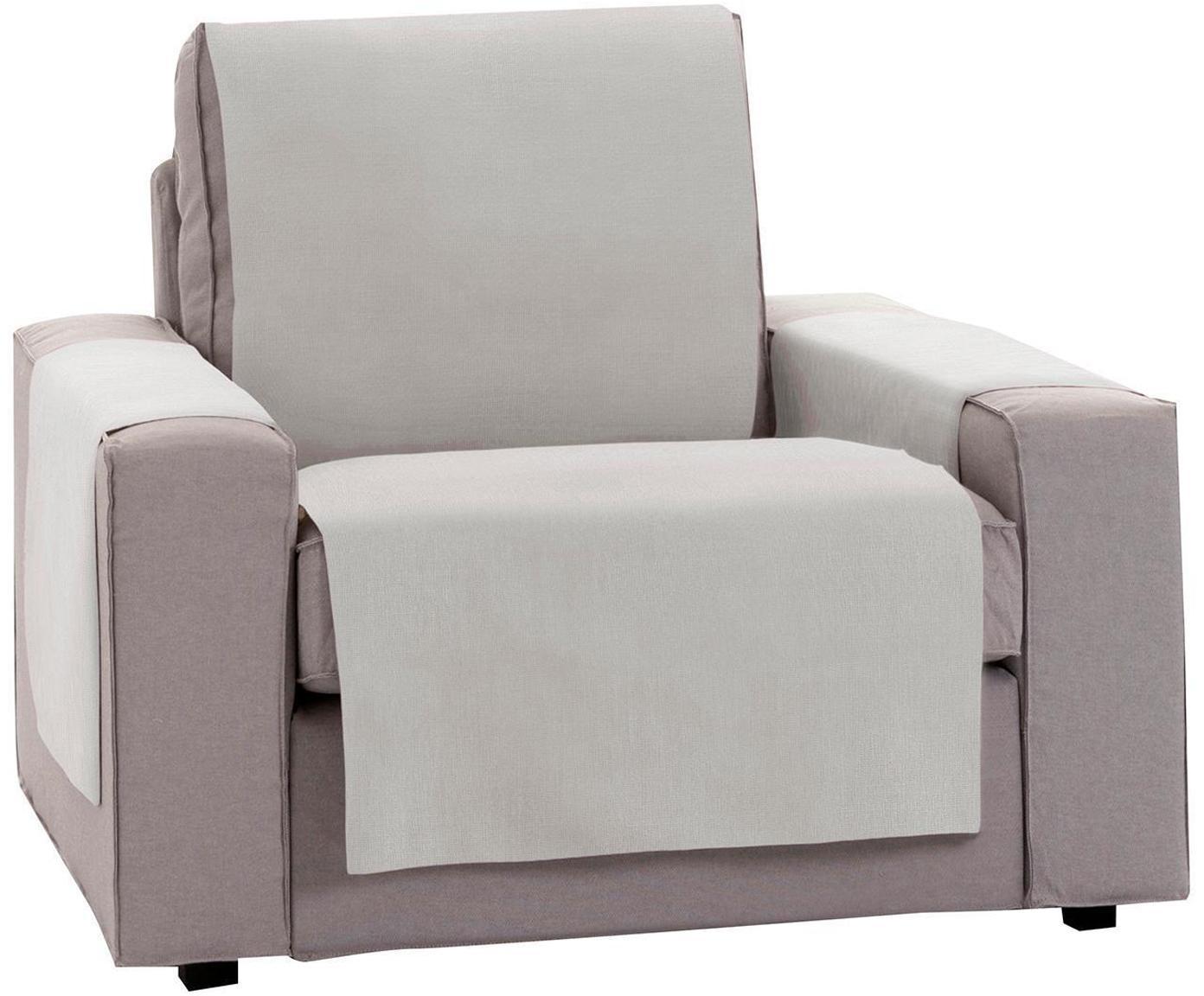 Funda de sillón Levante, 50%algodón, 50%poliéster, Gris verdoso, An 55 x L 220 cm