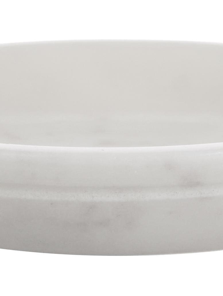 Marmeren zeephouder Lorka, Marmer, Wit, Ø 10 x H 2 cm