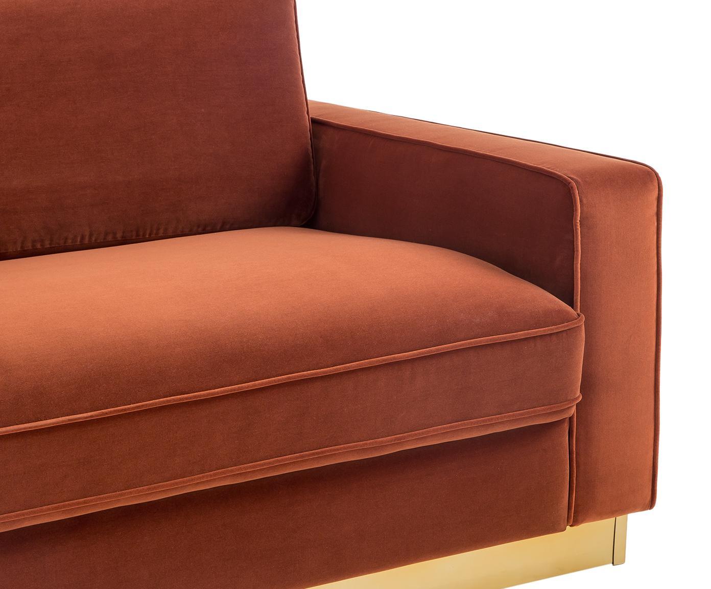 Fluwelen bank Chelsea (3-zits), Bekleding: fluweel (hoogwaardig poly, Frame: massief vurenhout, Frame: gecoat metaal, Roestrood, B 228 x D 100 cm
