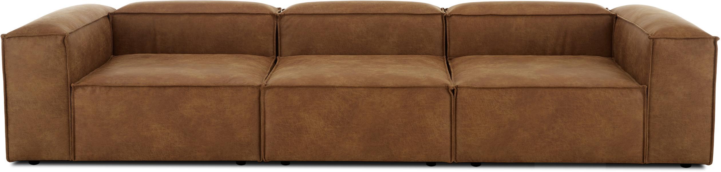 Modulares Leder-Sofa Lennon (4-Sitzer), Bezug: 70% Leder, 30% Polyester , Gestell: Massives Kiefernholz, Spe, Füße: Kunststoff, Leder Braun, B 326 x T 119 cm