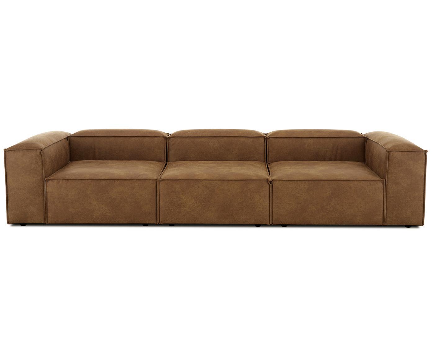 Sofa modułowa ze skóry Lennon (4-osobowa), Tapicerka: 70% skóra, 30% poliester , Stelaż: lite drewno sosnowe, płyt, Nogi: tworzywo sztuczne, Brązowy, S 326 x G 119 cm