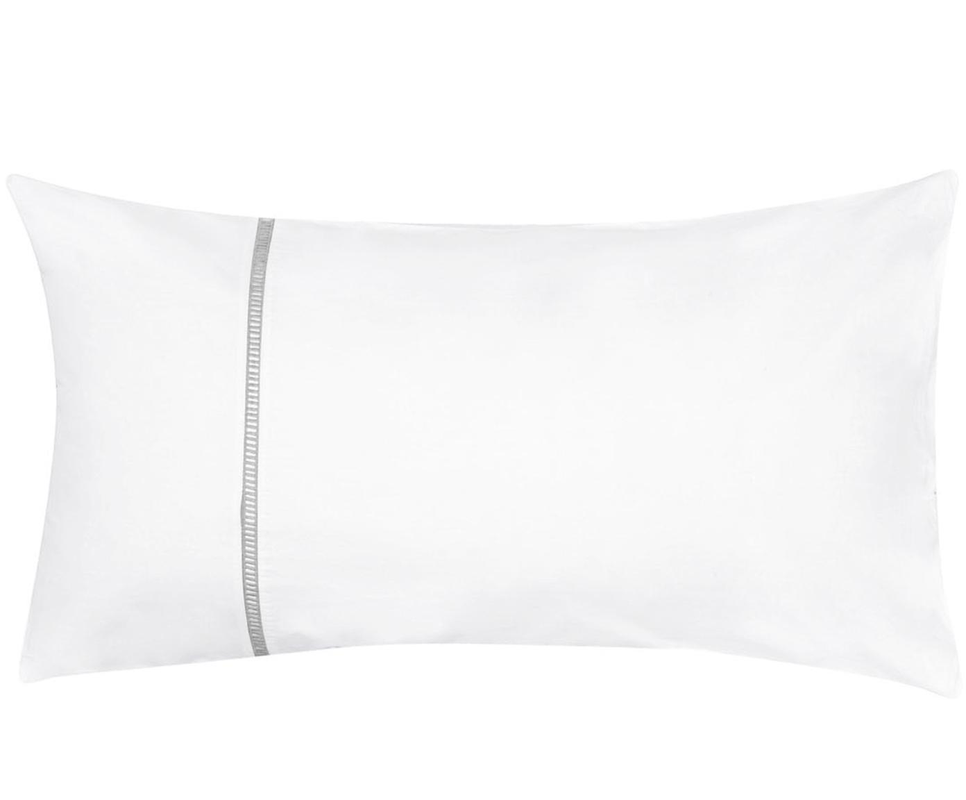 Baumwollperkal-Kissenbezüge Mari mit Hohlsaumstickerei, 2 Stück, Webart: Perkal Fadendichte 180 TC, Weiß, Grau, 40 x 80 cm