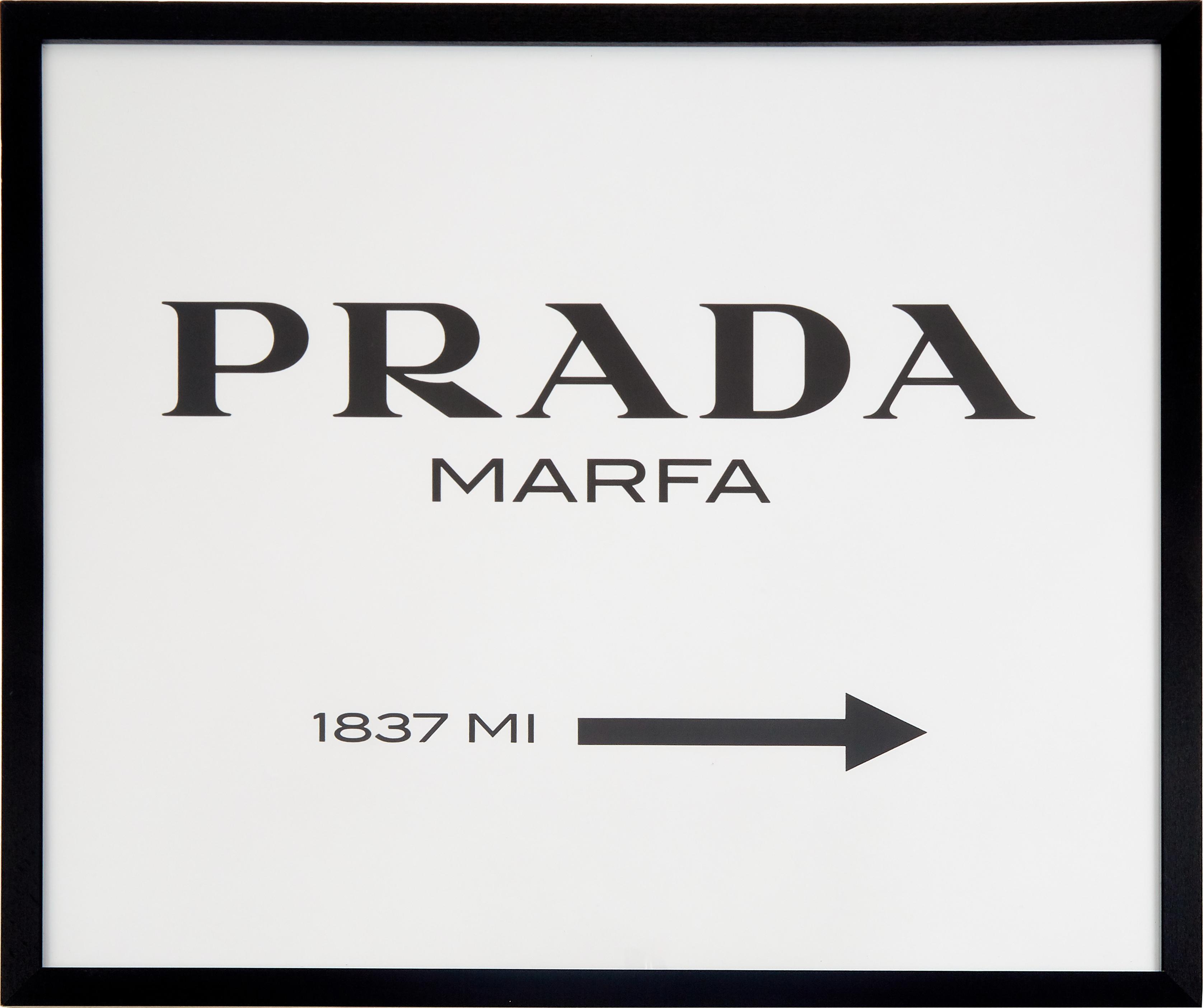 Gerahmter Digitaldruck Prada Marfa, Bild: Digitaldruck auf Papier, , Rahmen: Holz, lackiert, Front: Plexiglas, Schwarz, Weiß, 63 x 53 cm