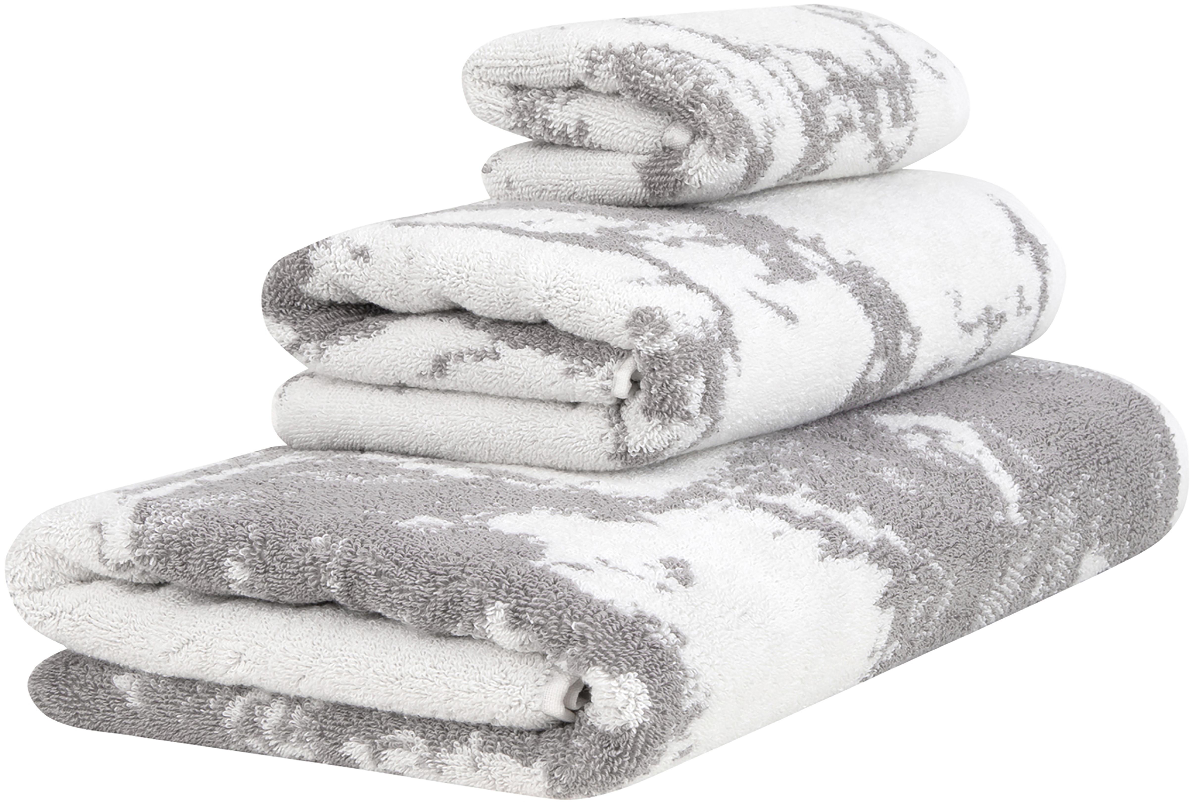 Set 3 asciugamani con motivo effetto marmo Marmo, Grigio, bianco crema, Set in varie misure