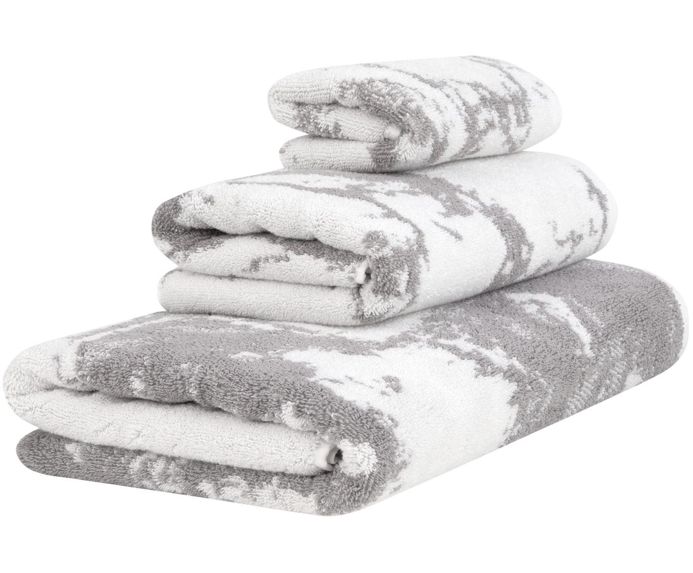 Handdoekenset Marmo, 3-delig, 100% katoen, middelzware kwaliteit, 550 g/m², Grijs, crèmewit, Verschillende formaten