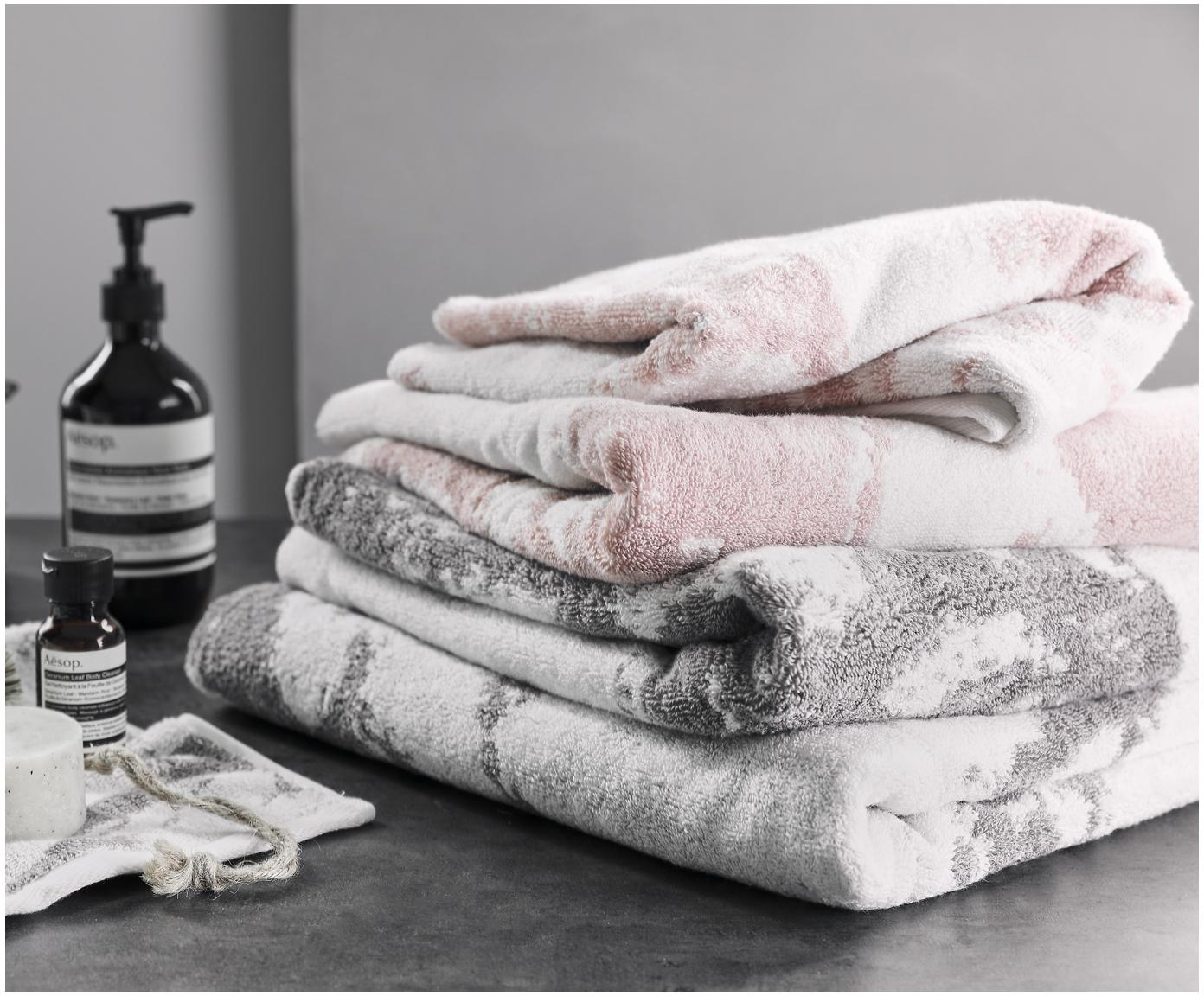 Komplet ręczników Marmo, 3 elem., Szary, kremowobiały, Różne rozmiary