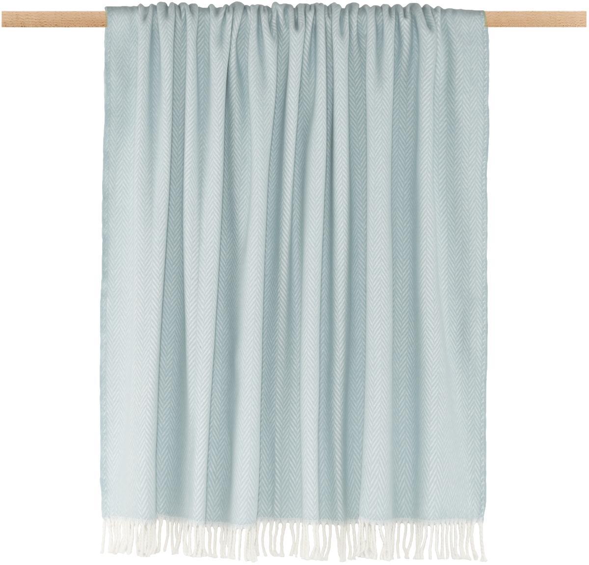 Plaid Skyline, 50% katoen, 50% acryl, Hemelsblauw, gebroken wit, 140 x 180 cm
