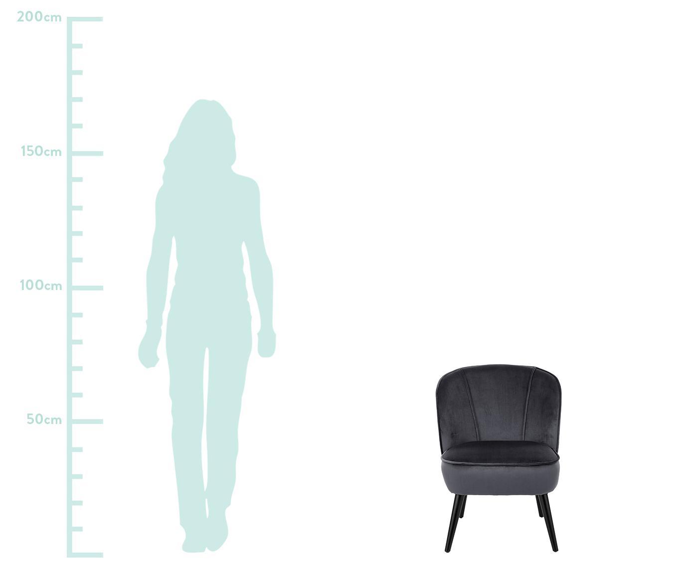 Fotel koktajlowy z aksamitu Lucky, Tapicerka: aksamit (poliester) Tkani, Nogi: drewno kauczukowe, lakier, Tapicerka: ciemnoszary Nogi: czarny, S 59 x G 68 cm