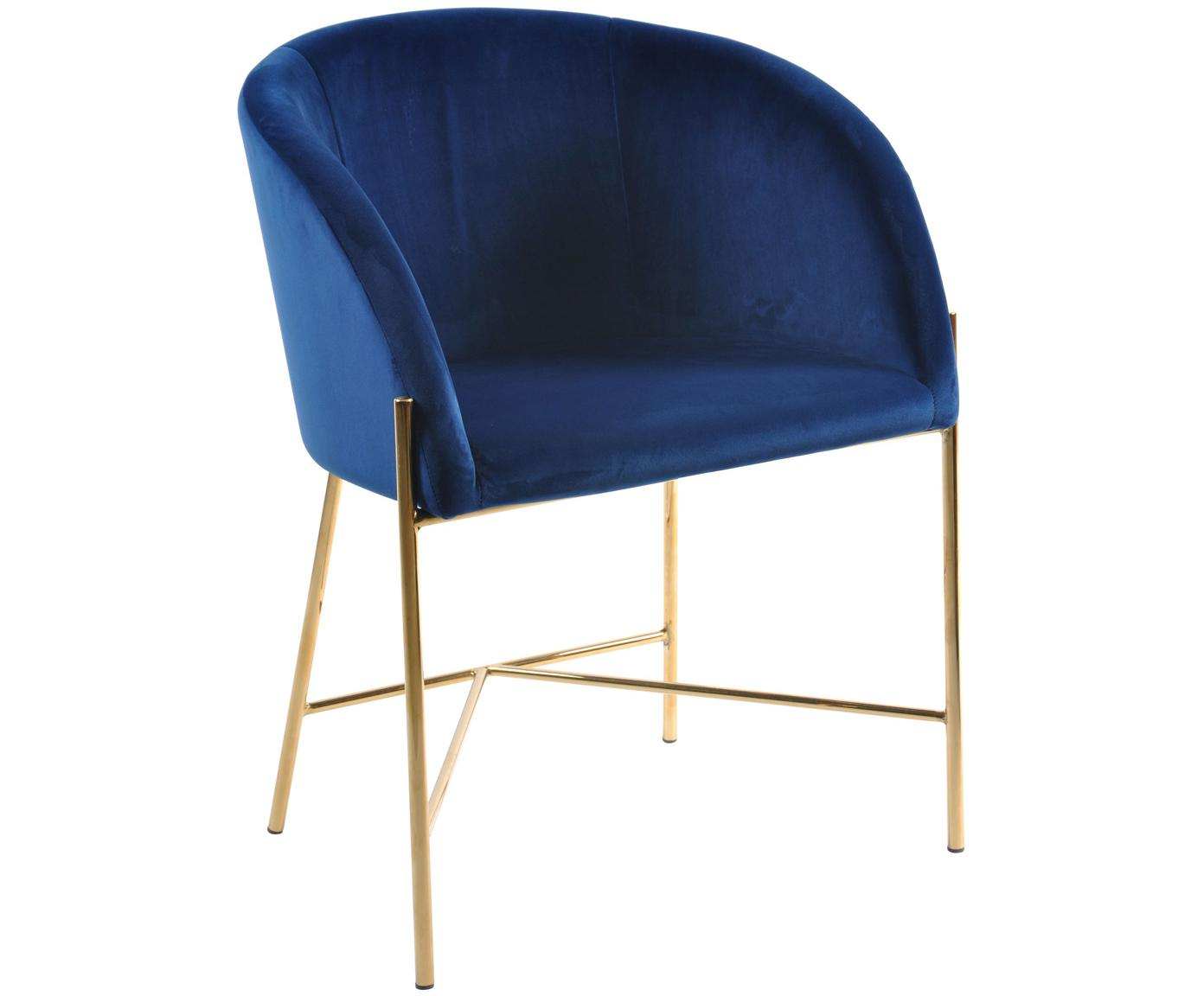 Samt-Polsterstuhl Nelson in modernem Design, Bezug: Polyestersamt 25.000 Sche, Beine: Metall, vermessingt, Dunkelblau, Messingfarben, B 56 x T 55 cm