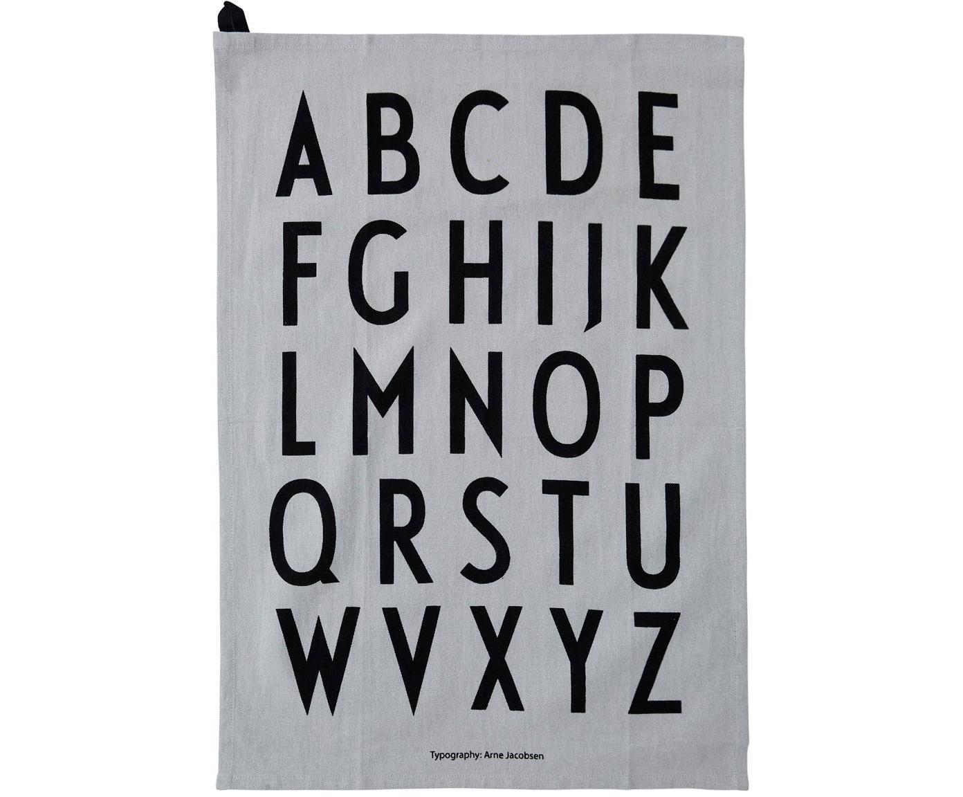 Theedoeken Classic in grijs met designletters, 2 stuks, Katoen, Grijs, zwart, 40 x 60 cm
