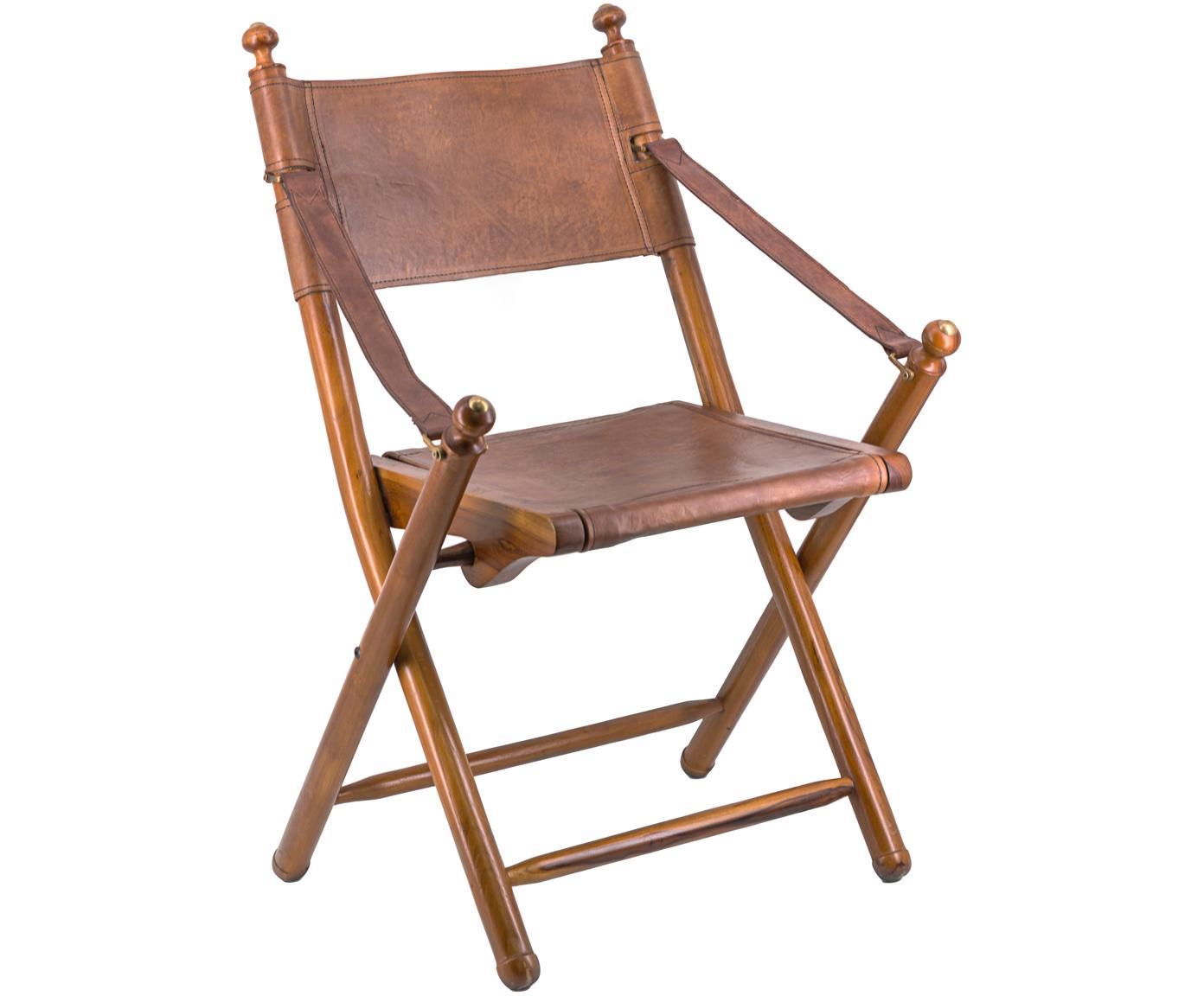 Silla plegable Tarlton, Estructura: madera de caoba, Marrón, An 53 x F 56 cm