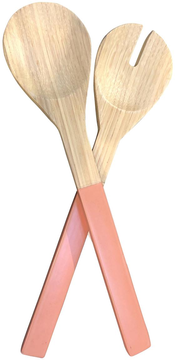 Cubiertos para ensalada Bambus, 2pzas., Bambú, Rosa, L 30 cm