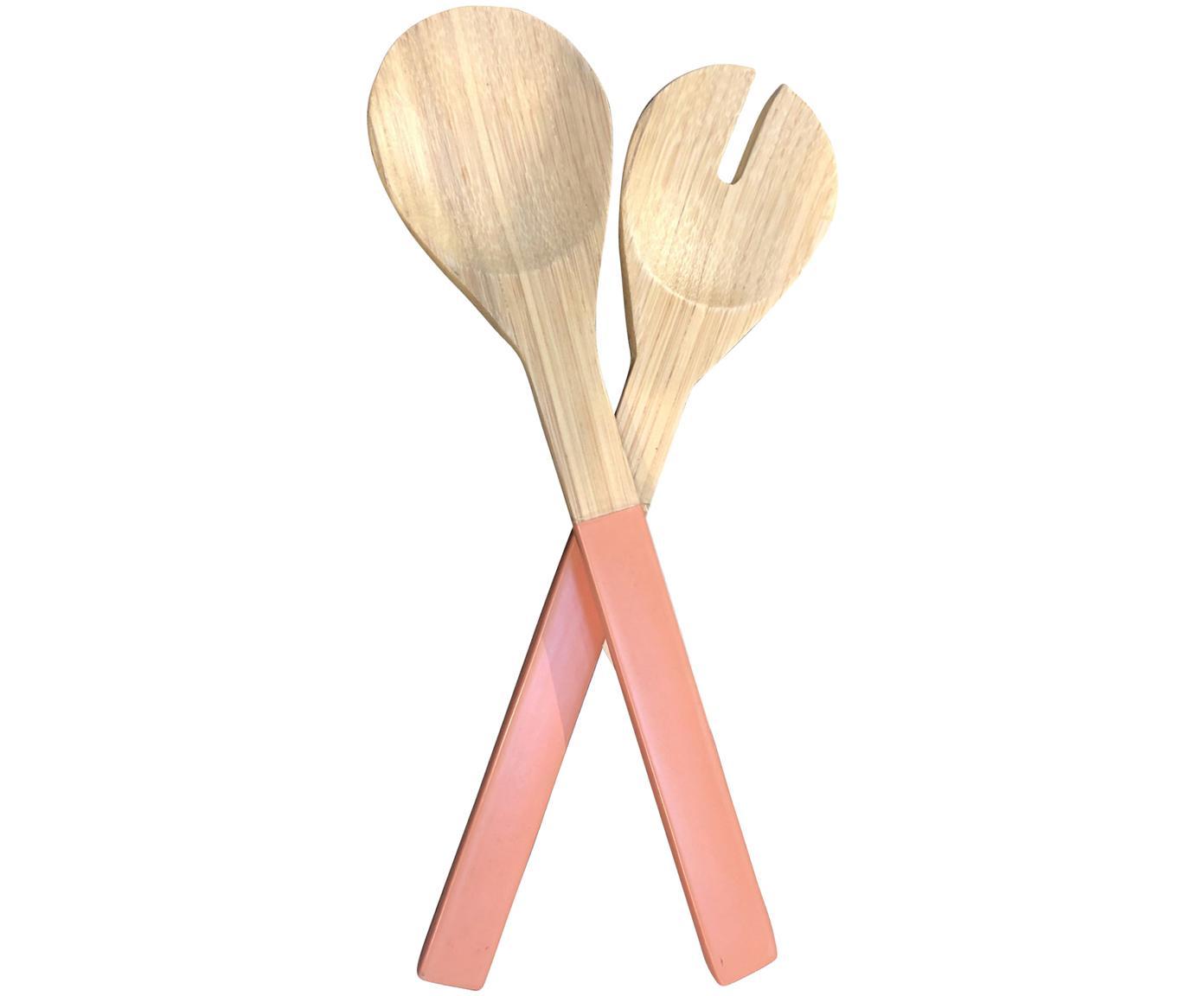 Bambus Salatbesteck Tina mit rosa Griffen, 2er-Set, Bambus, Rosa, L 30 cm