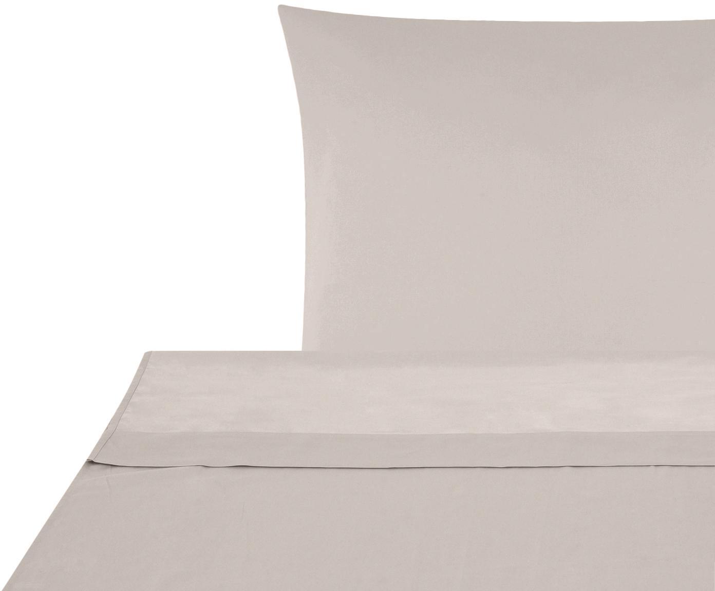 Set lenzuola in raso di cotone Comfort 2 pz, Tessuto: raso Densità del filo 250, Taupe, 150 x 300 cm