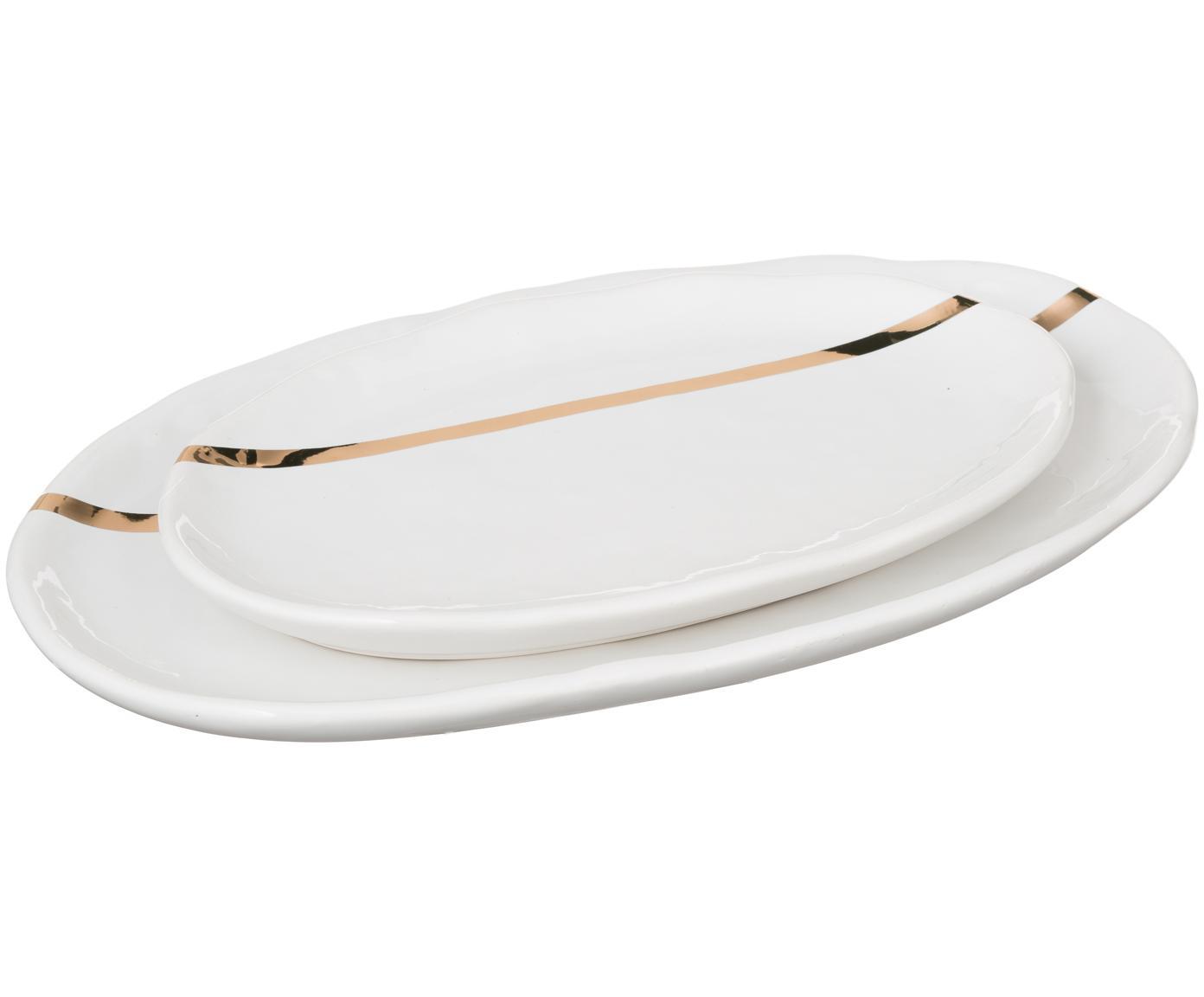 Set 2 piatti da portata in porcellana Aruna, Porcellana, Bianco, dorato, Diverse dimensioni