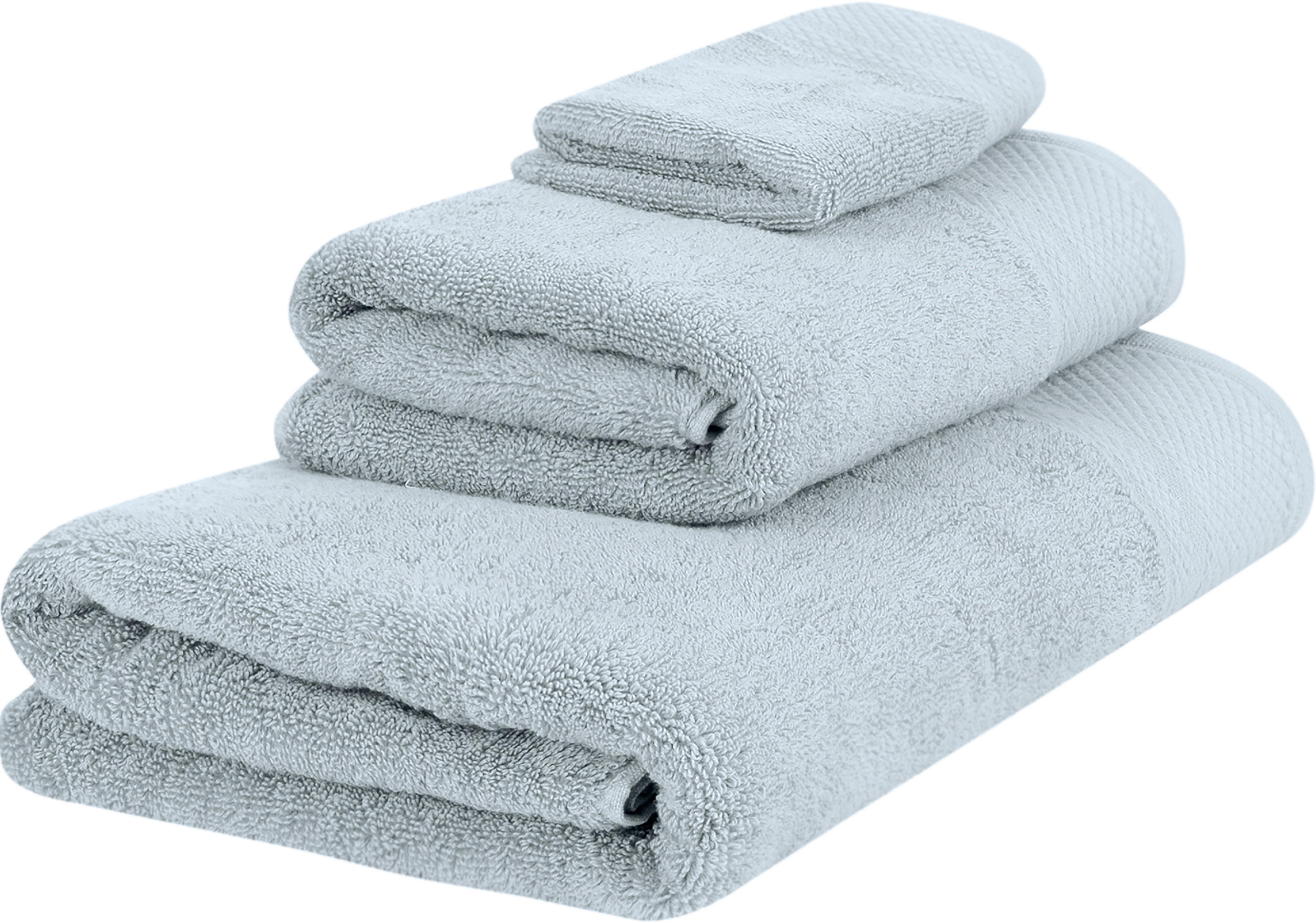 Komplet ręczników Premium, 3 elem., Jasny niebieski, Różne rozmiary