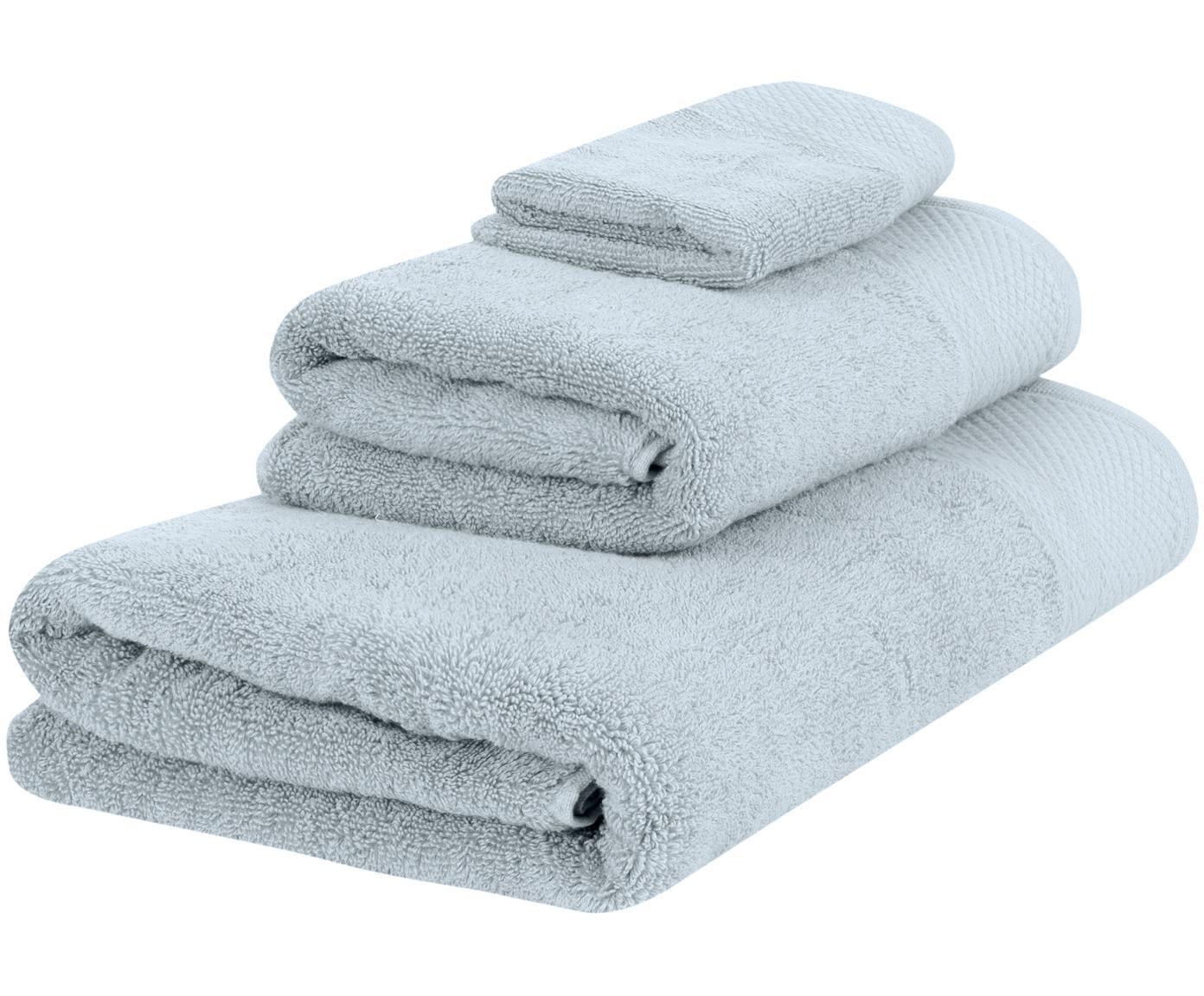 Set de toallas con cenefa clásica Premium, 3pzas., 100%algodón Gramaje superior 600g/m², Azul claro, Tamaños diferentes