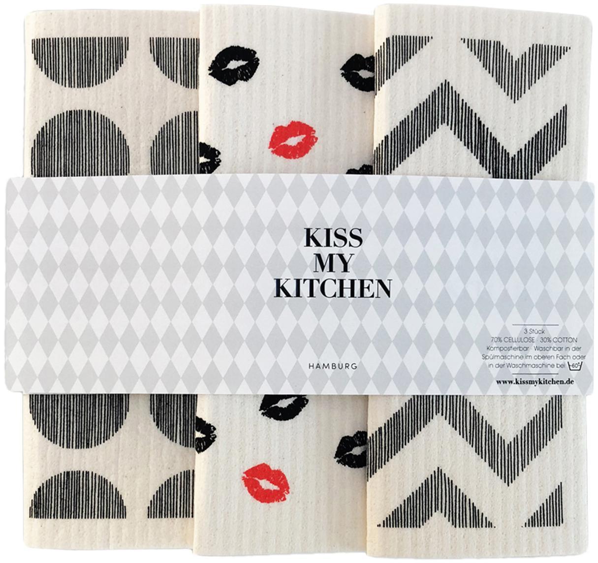 Set de bayetas biodegradables Paris, 3pzas., 70%celulosa, 30%algodón, Blanco, gris, rojo, An 17 x L 20 cm