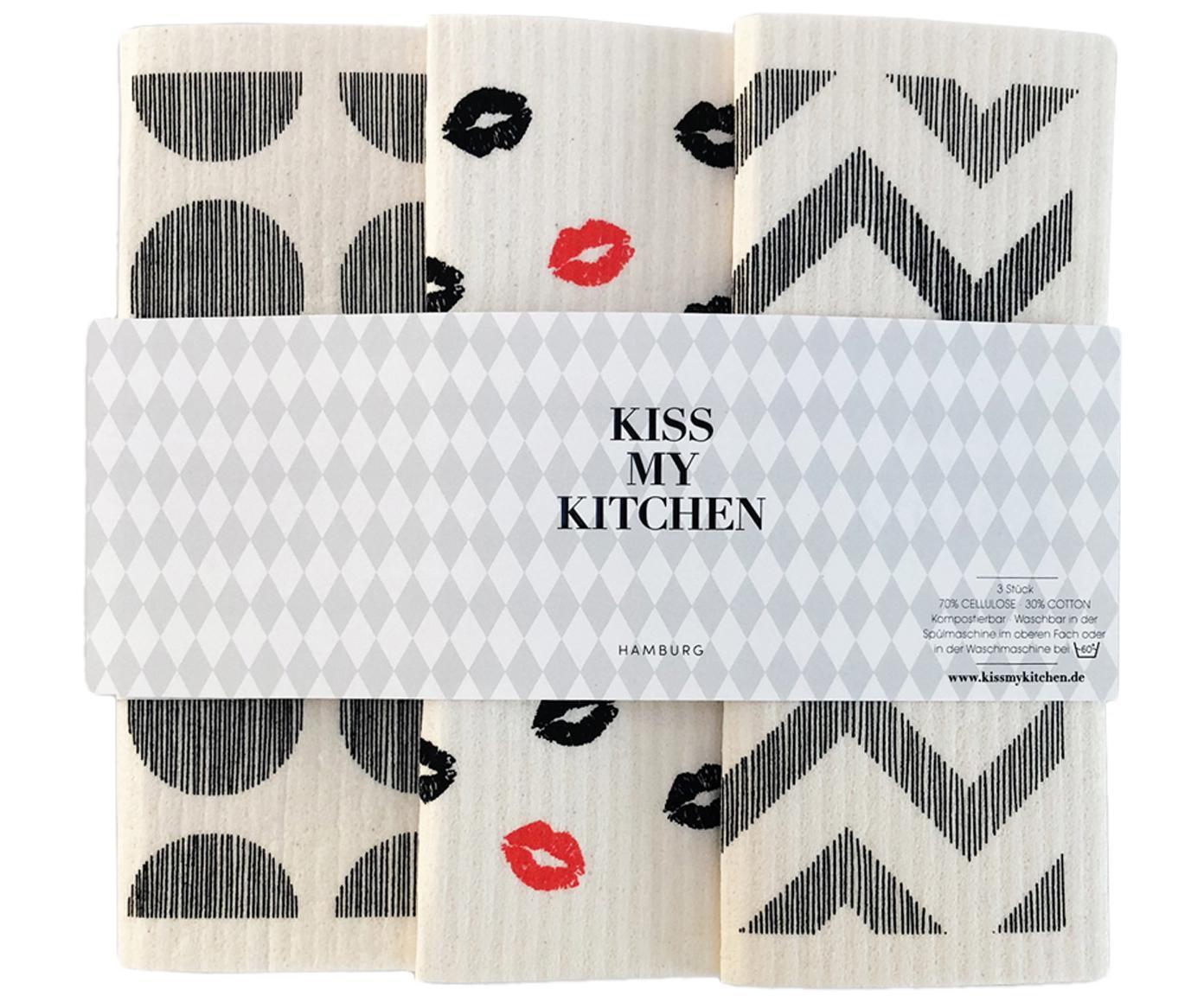 Sponsdoekenset Paris, 3-delig, 70% Cellulose, 30% katoen, Wit, grijs, rood, 17 x 20 cm