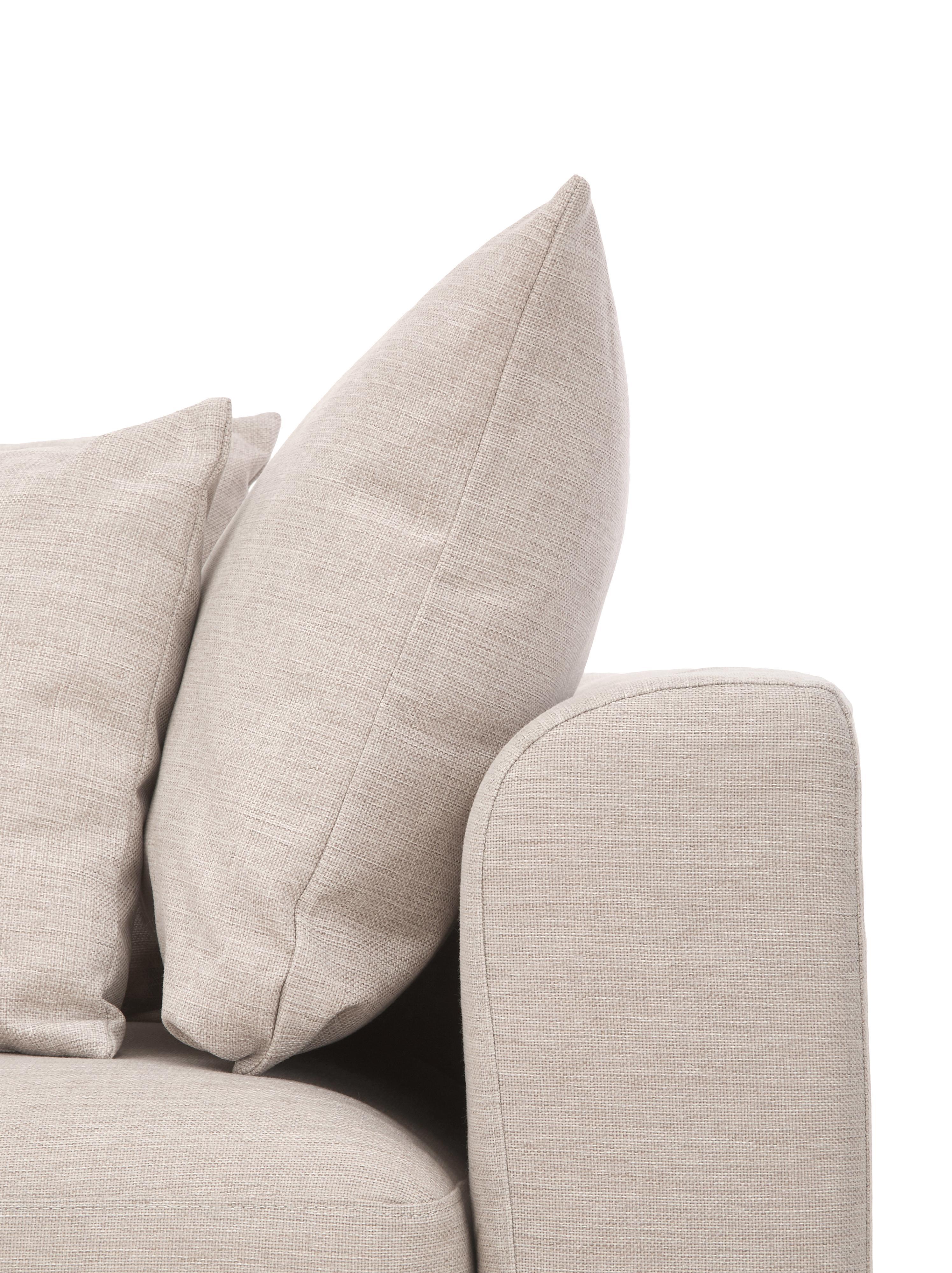 Divano angolare in tessuto beige Zach, Rivestimento: polipropilene, Piedini: materiale sintetico, Sottostruttura: truciolato e legno massic, Tessuto beige, Larg. 300 x Prof. 213 cm