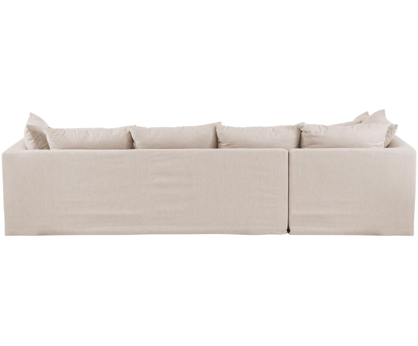 Hoekbank Zach, Bekleding: polypropyleen, Poten: kunststof, Geweven stof beige, B 300 x D 213 cm