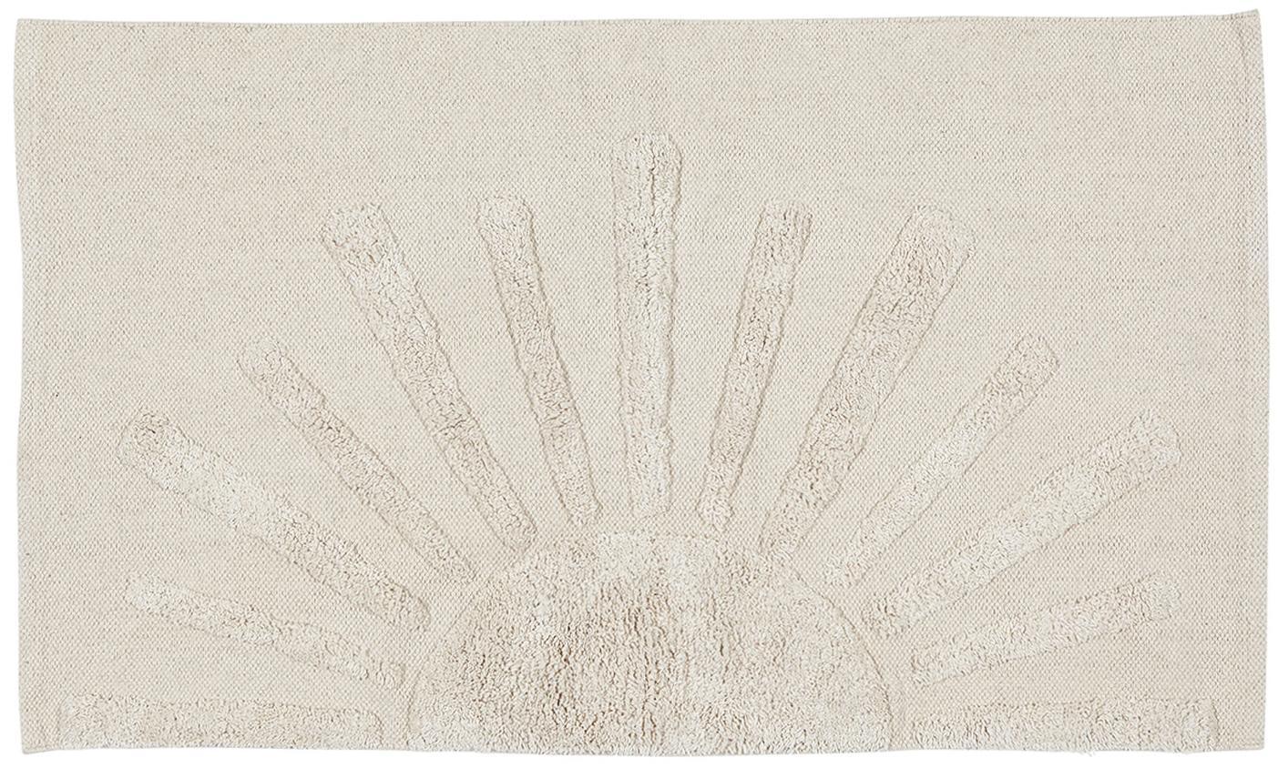 Badmat met hoog-laag motief, Katoen Niet antislip, Steengrijs, 60 x 90 cm