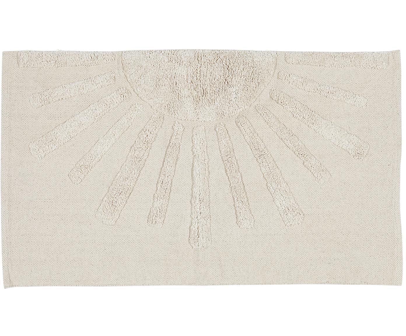 Tappeto bagno in cotone bio con motivo a rilievo Sun, Cotone biologico Non antiscivolo, Grigio pietra, Larg. 60 x Lung. 90 cm