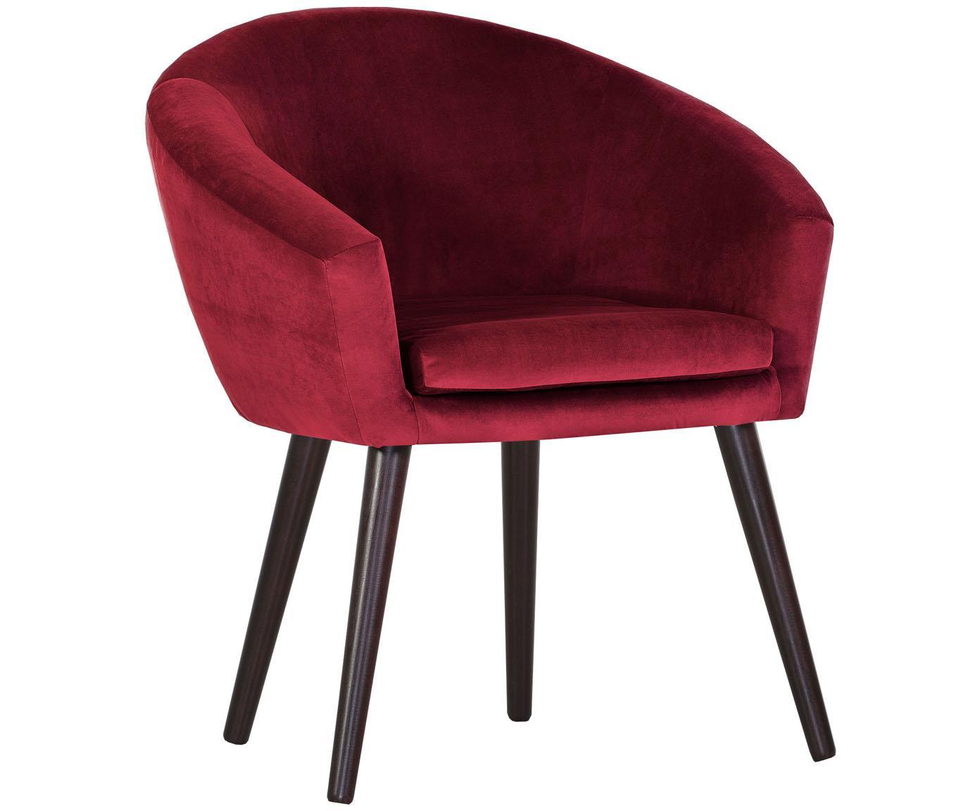 Samt-Armlehnstuhl Lino in Rot, Bezug: Polyester (Samt), Füße: Holz, lackiert, Samt Rot, B 75 x T 66 cm