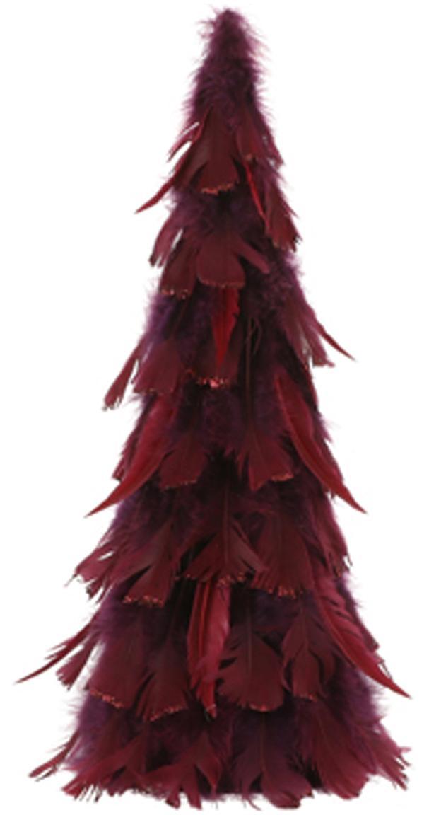 Figura decorativa Fedora, Plumas, Rojo oscuro, Ø 21 x Al 46 cm