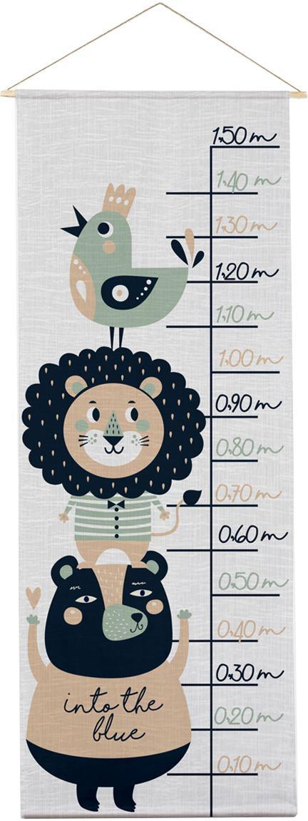 Medidor altura Lion, Poliéster (microfibra), Gris, negro, verde, beige, An 40 x Al 155 cm