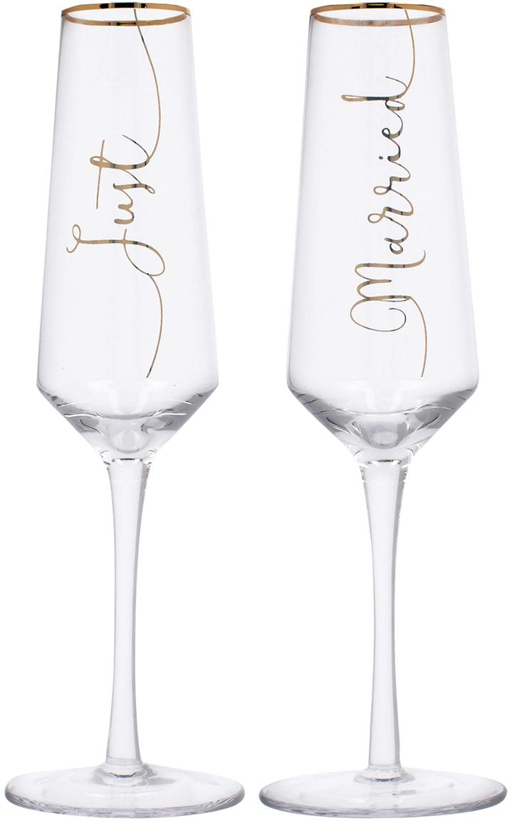 Champagneglazen Just Married met goudkleurig opschrift, 2-delig, Glas, Transparant, goudkleurig, Ø 6 x H 26 cm