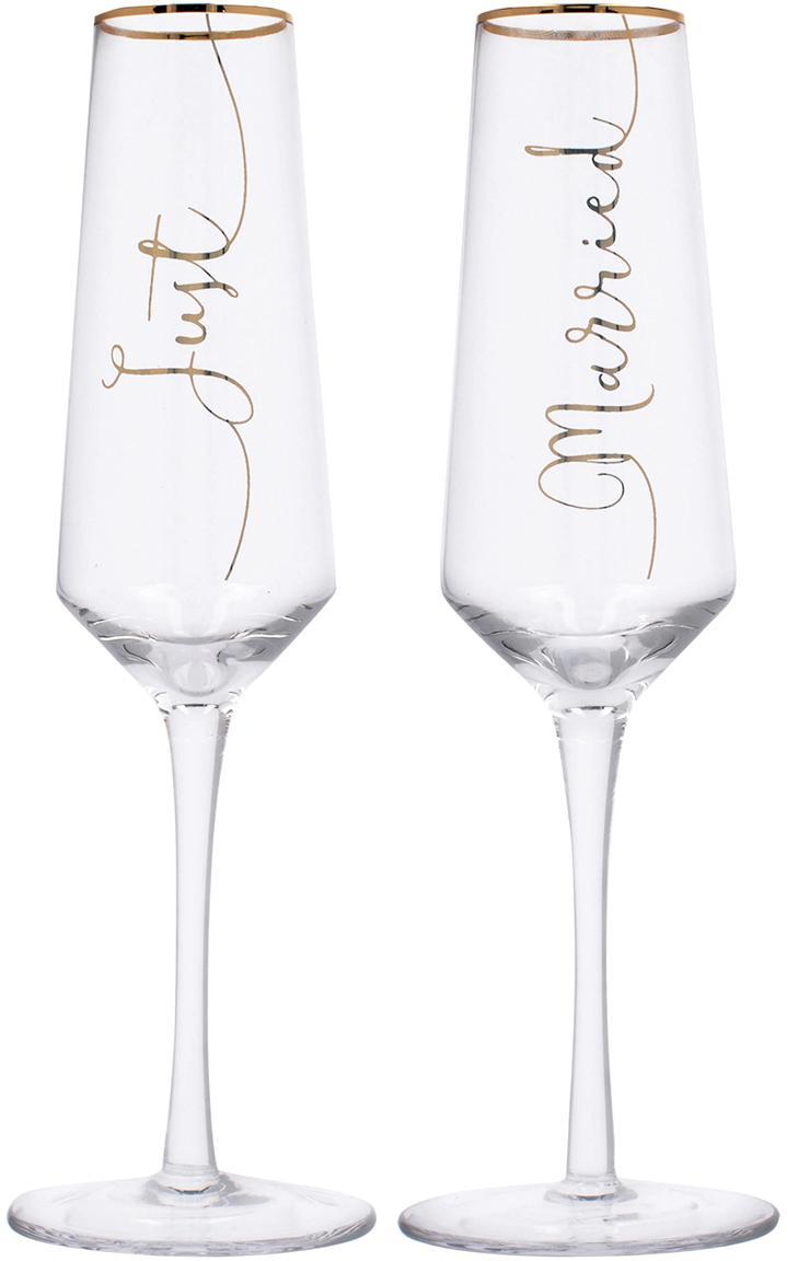 Sektgläser Just Married mit goldener Aufschrift, 2er-Set, Glas, Transparent, Goldfarben, Ø 6 x H 26 cm