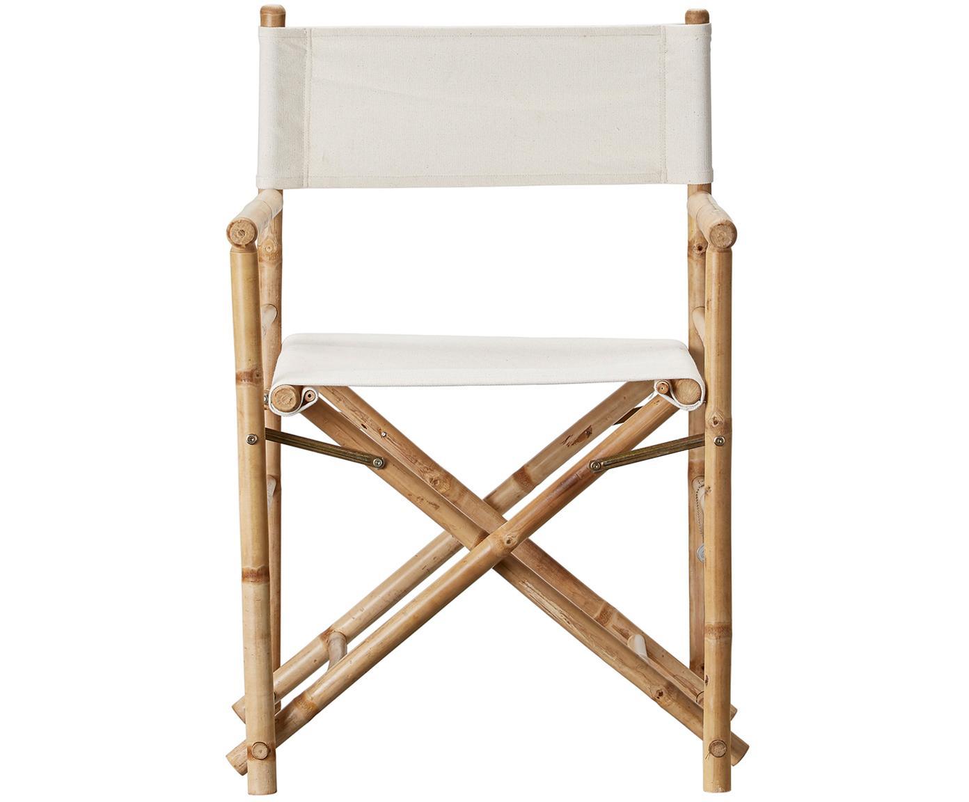 Silla plegable de bambú Mandisa, Estructura: bambú natural, Superficie: lino, Bambú, lino claro, An 58 x Al 88 cm