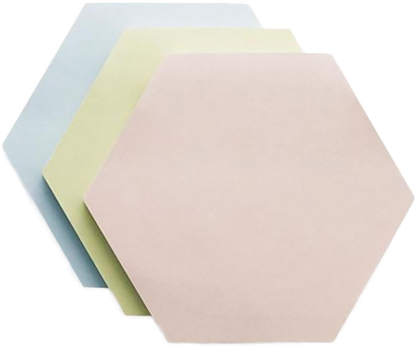 Haftnotizblock-Set Remember, 3-tlg., Papier, bedruckt, Blau, Grün, Rosa, B 9 x T 8 cm
