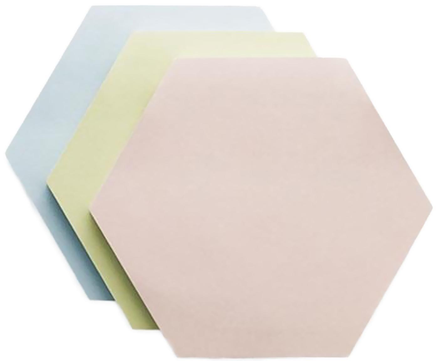 Komplet karteczek w bloczku Remember, 3 elem., Papier, nadruk, Niebieski, zielony, blady różowy, S 9 x G 8 cm