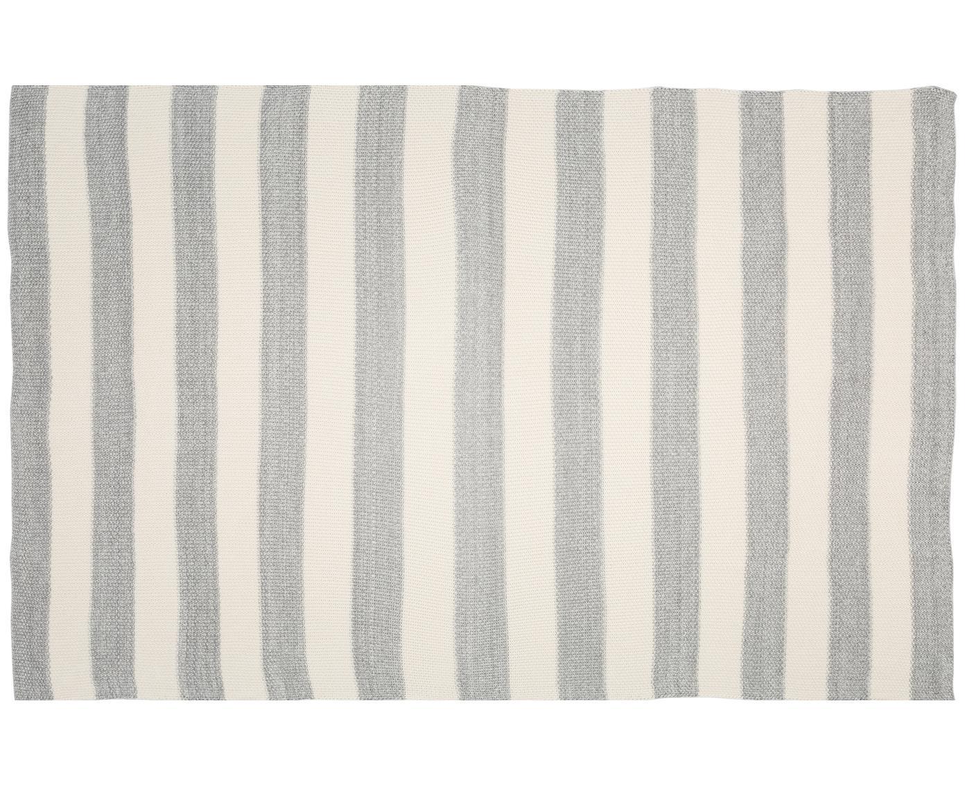 Gebreide plaid Halma, 100% katoen, Lichtgrijs, crèmewit, gevlekt, 150 x 200 cm