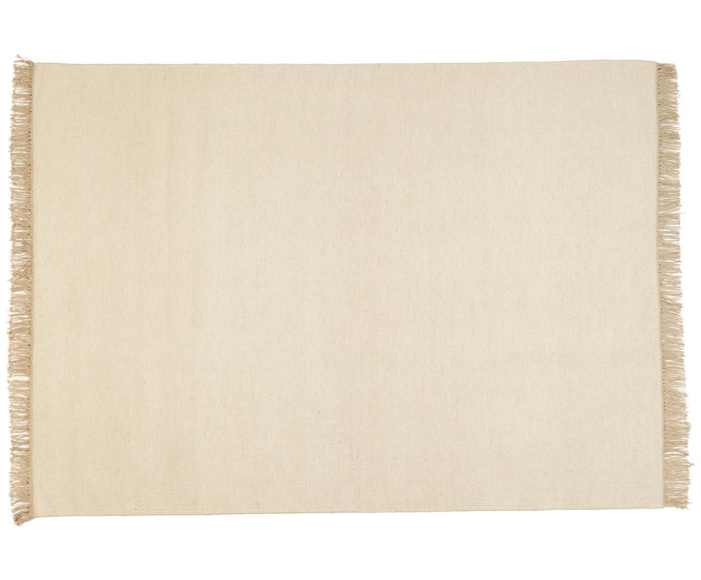 Handgeweven wollen vloerkleed Rainbow in gebroken wit met franjes, Vloerkleed: gebroken wit. Franjes: beige, B 140 x L 200 cm (maat S)