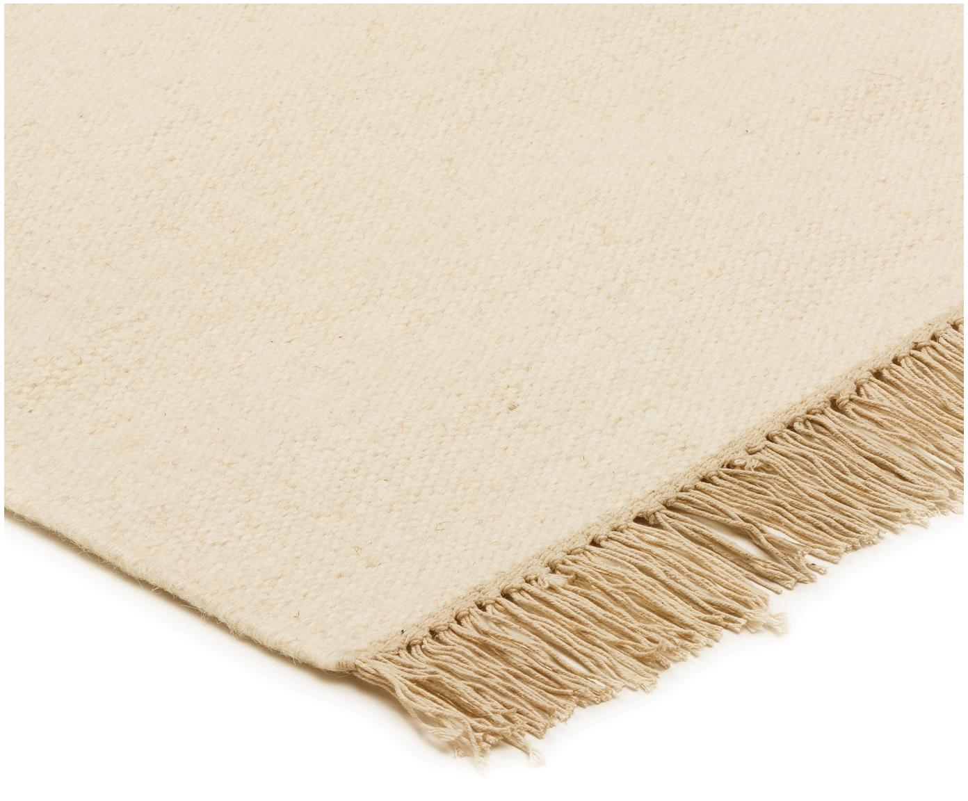 Ručně tkaný vlněný koberec střásněmi Rainbow, Přírodní bílá