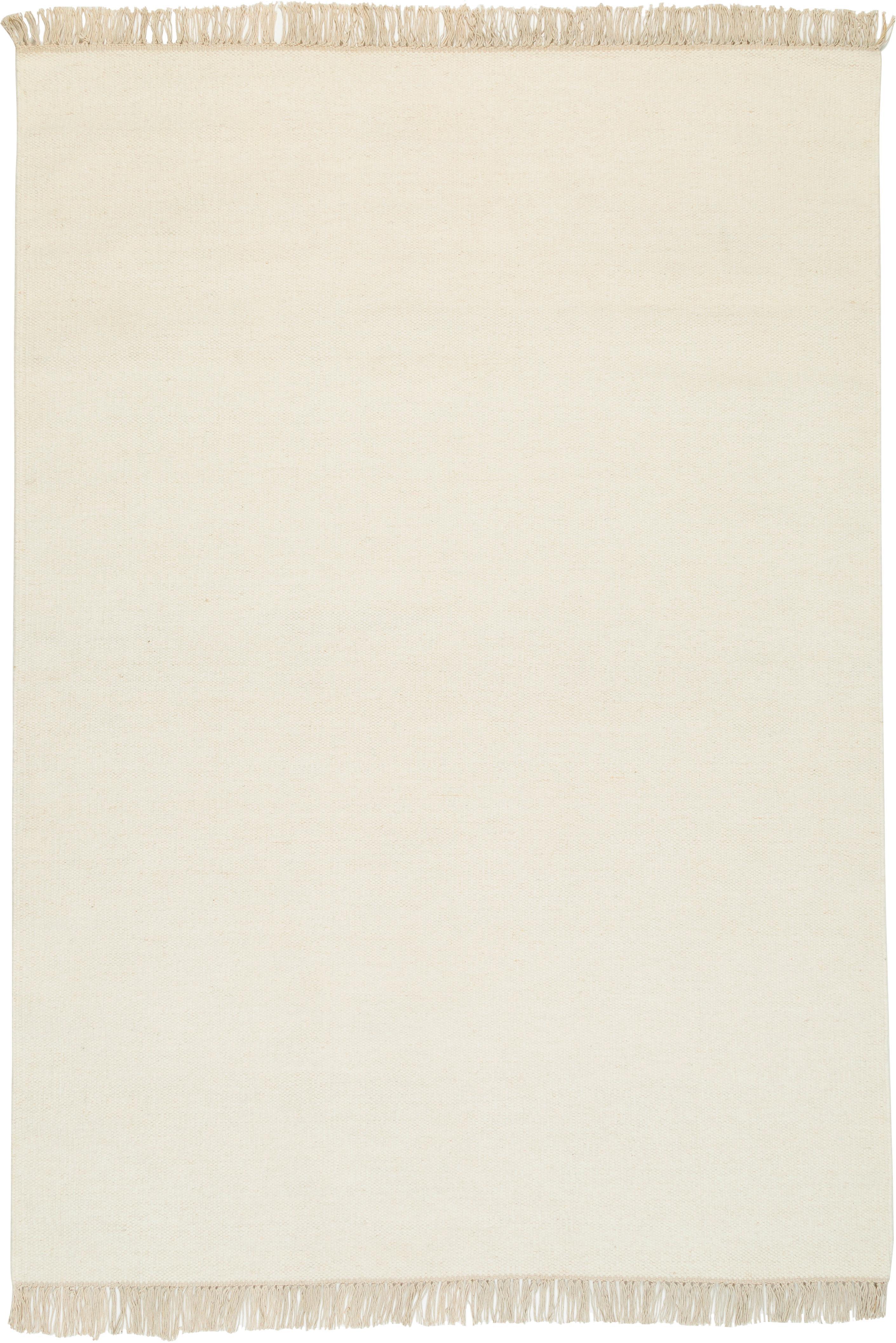 Handgeweven wollen vloerkleed Rainbow in gebroken wit met franjes, Natuurwit, B 140 x L 200 cm (maat S)