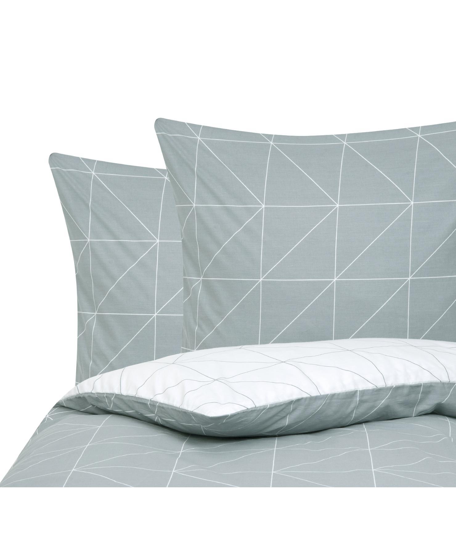 Baumwoll-Wendebettwäsche Marla mit grafischem Muster, Webart: Renforcé Fadendichte 144 , Grau, Weiss, 200 x 200 cm + 2 Kissen 80 x 80 cm