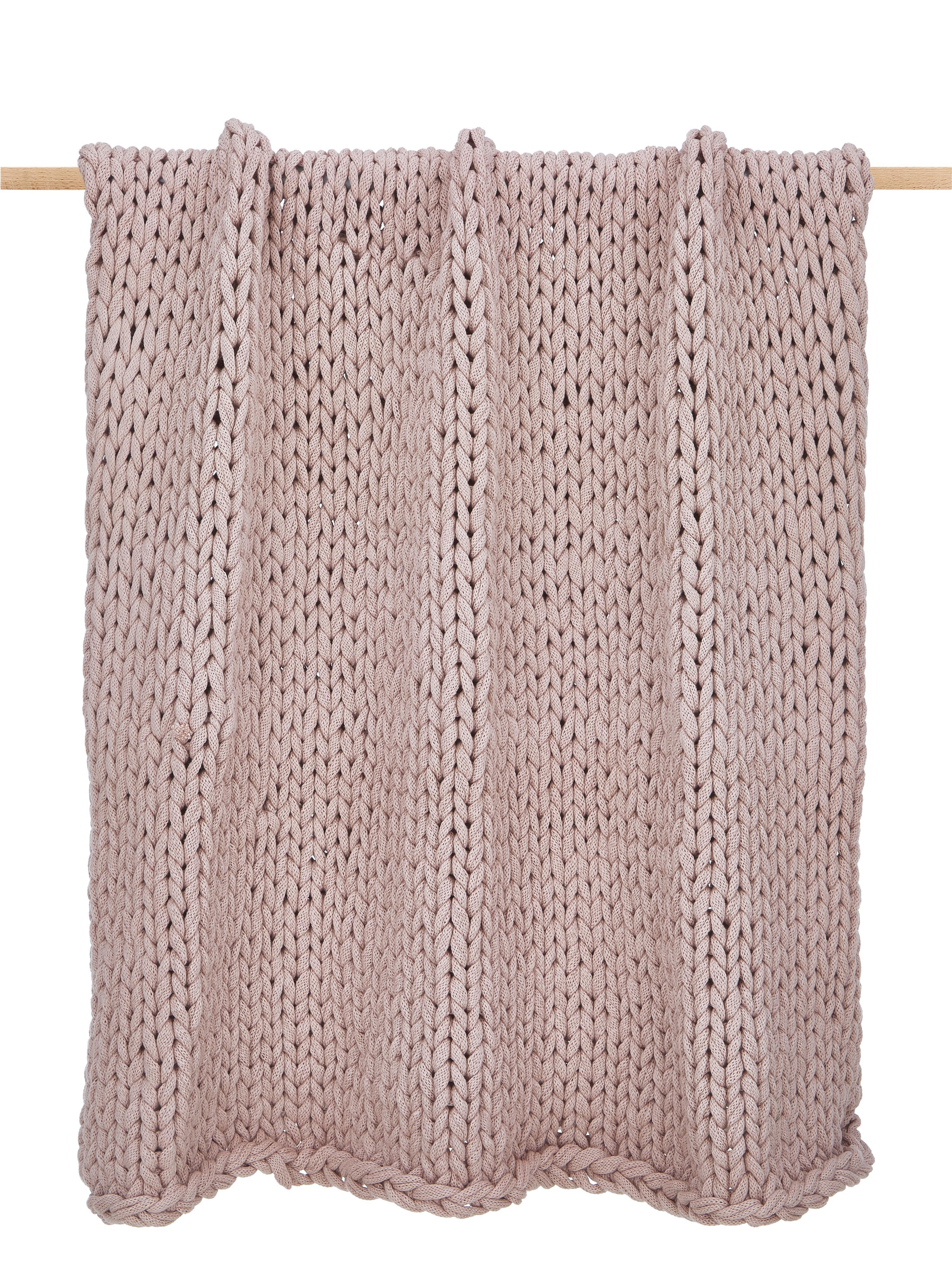 Manta de punto grueso Adyna, 100%poliacrílico, Rosa palo, An 130 x L 170 cm