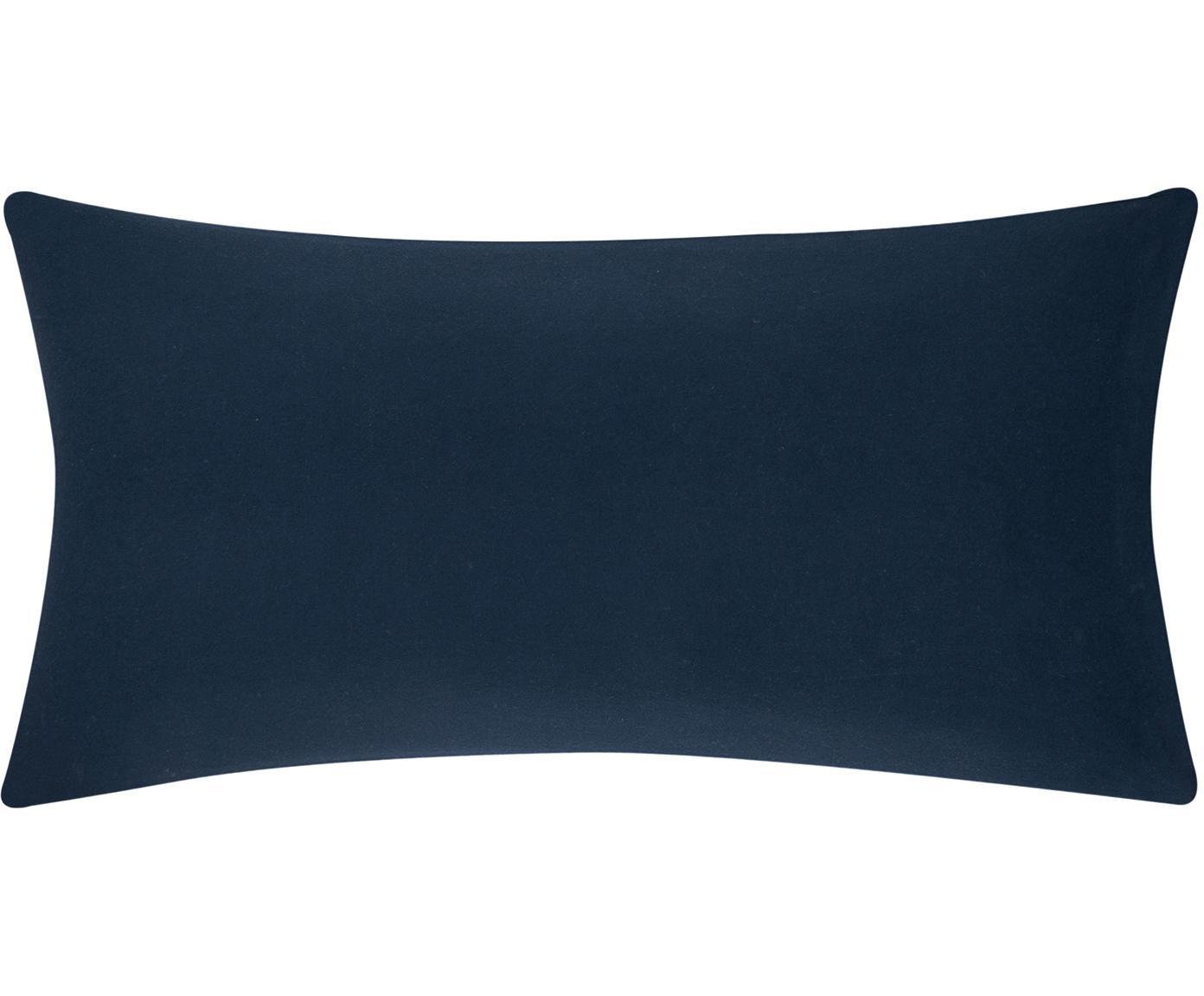 Poszewka na poduszkę ze skóry z flaneli Biba, 2 szt., Granatowy, S 40 x D 80 cm