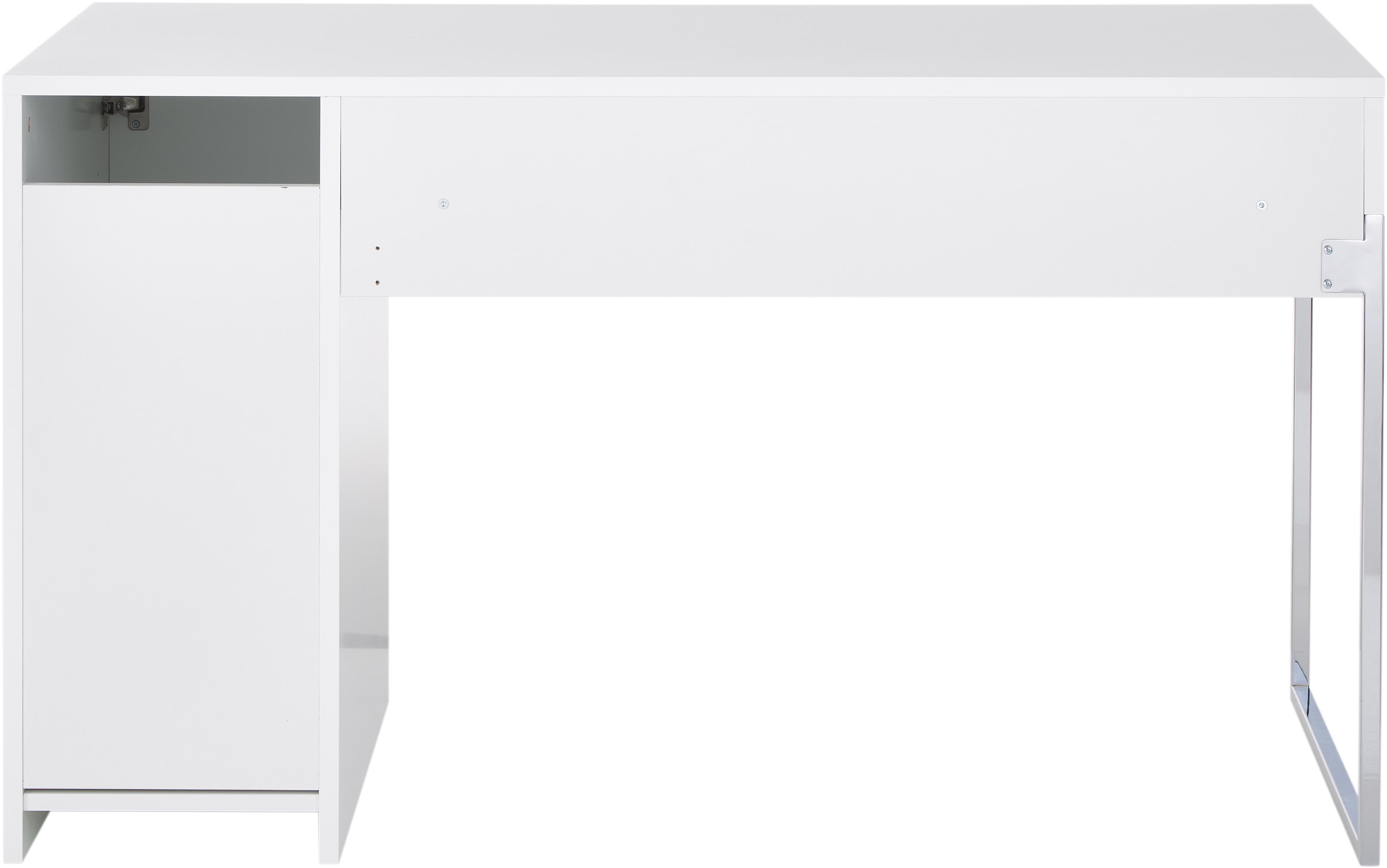 Bureau Tiago in wit, Frame: fibreboard, spaanplaat, g, Poten: verchroomd metaal, Mat wit. Poten: verchroomd metaalkleurig, 130 x 75 cm