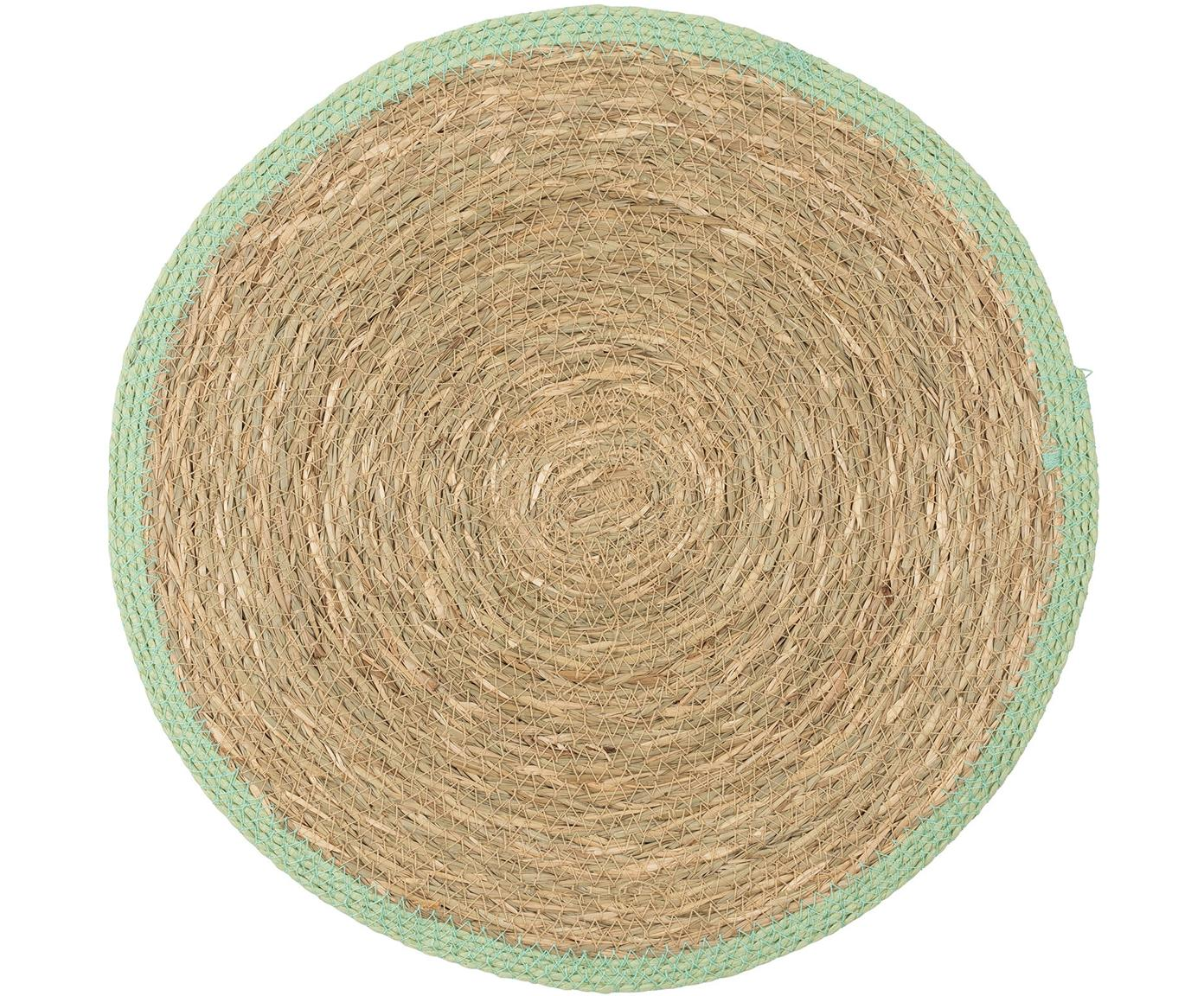 Runde Tischsets Boho, 2 Stück, Seegras, Beige, Grün, Ø 35 cm