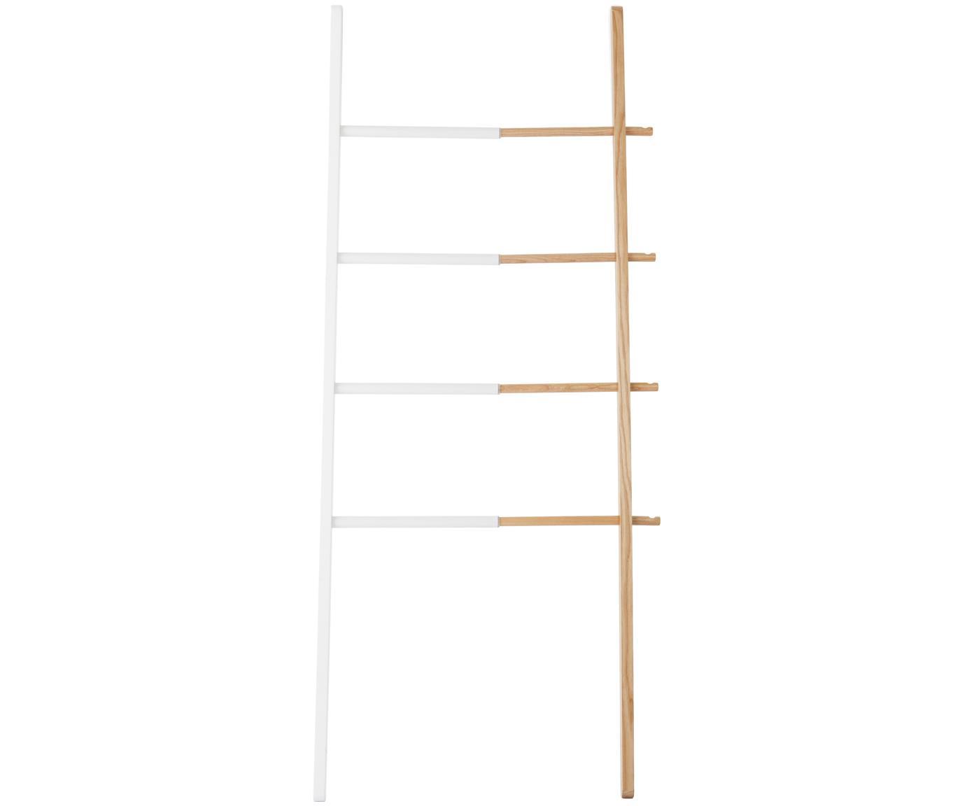Design ladderrek Hub, Gebeitst essenhout, gelakt staal, Wit, lichtbruin, 67 x 152 cm
