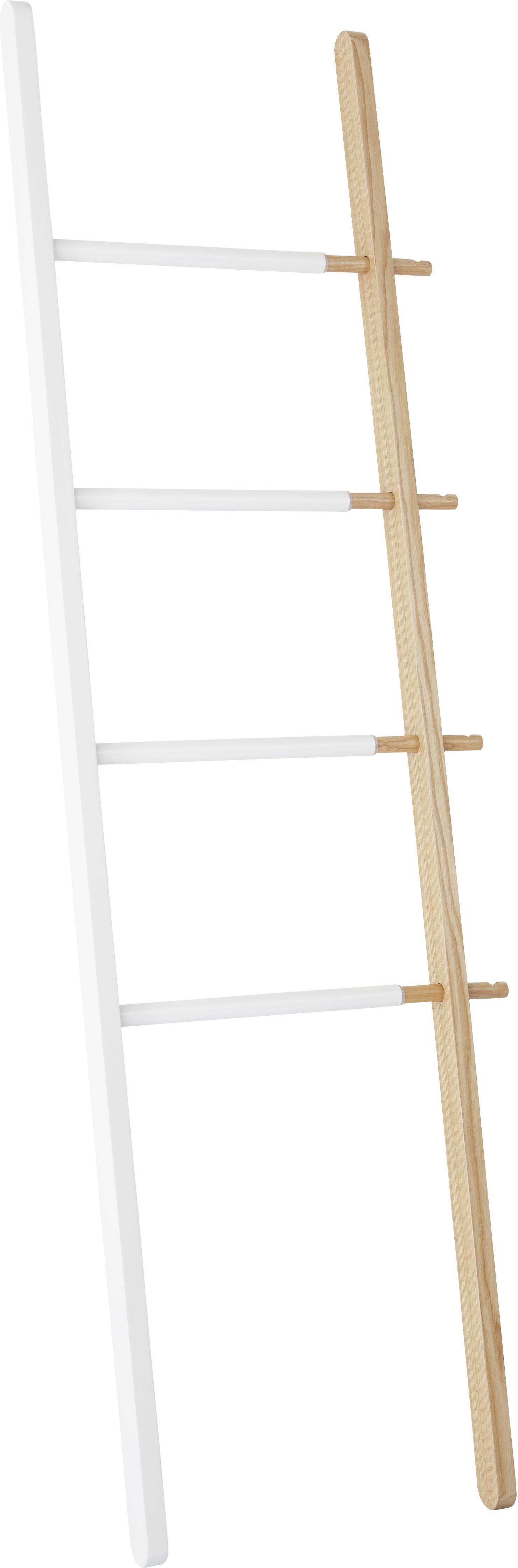 Scaletta di design Hub, Legno di frassino verniciato, acciaio, Bianco, marrone chiaro, Larg. 67 x Alt. 152 cm